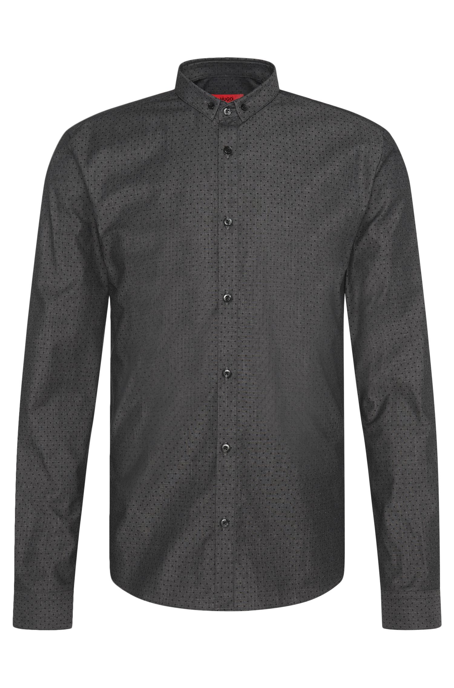 Polka dot pattern slim-fit shirt in stretch cotton: 'Erren'