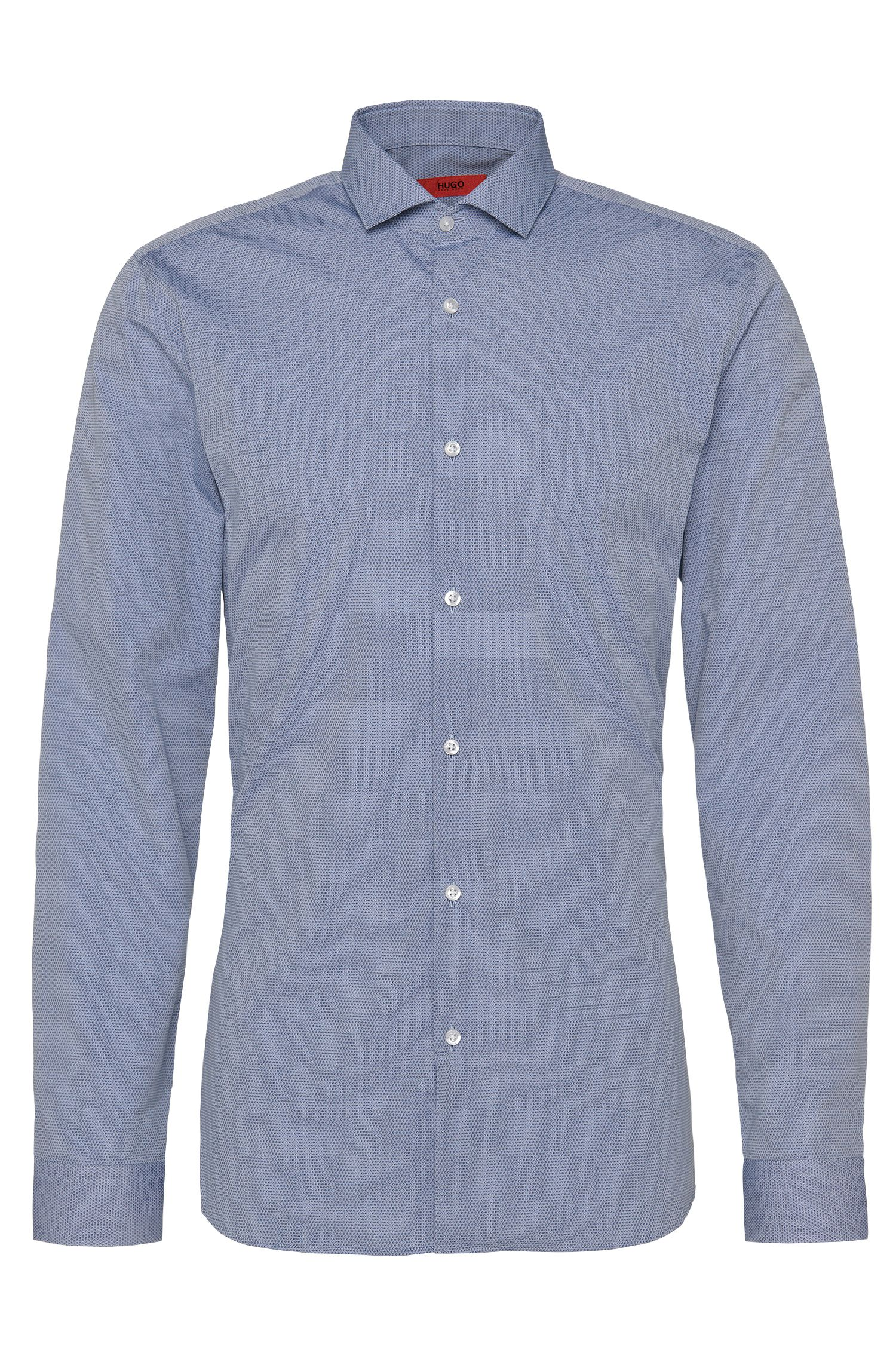 Patterned slim-fit shirt in pure cotton: 'Erondo'