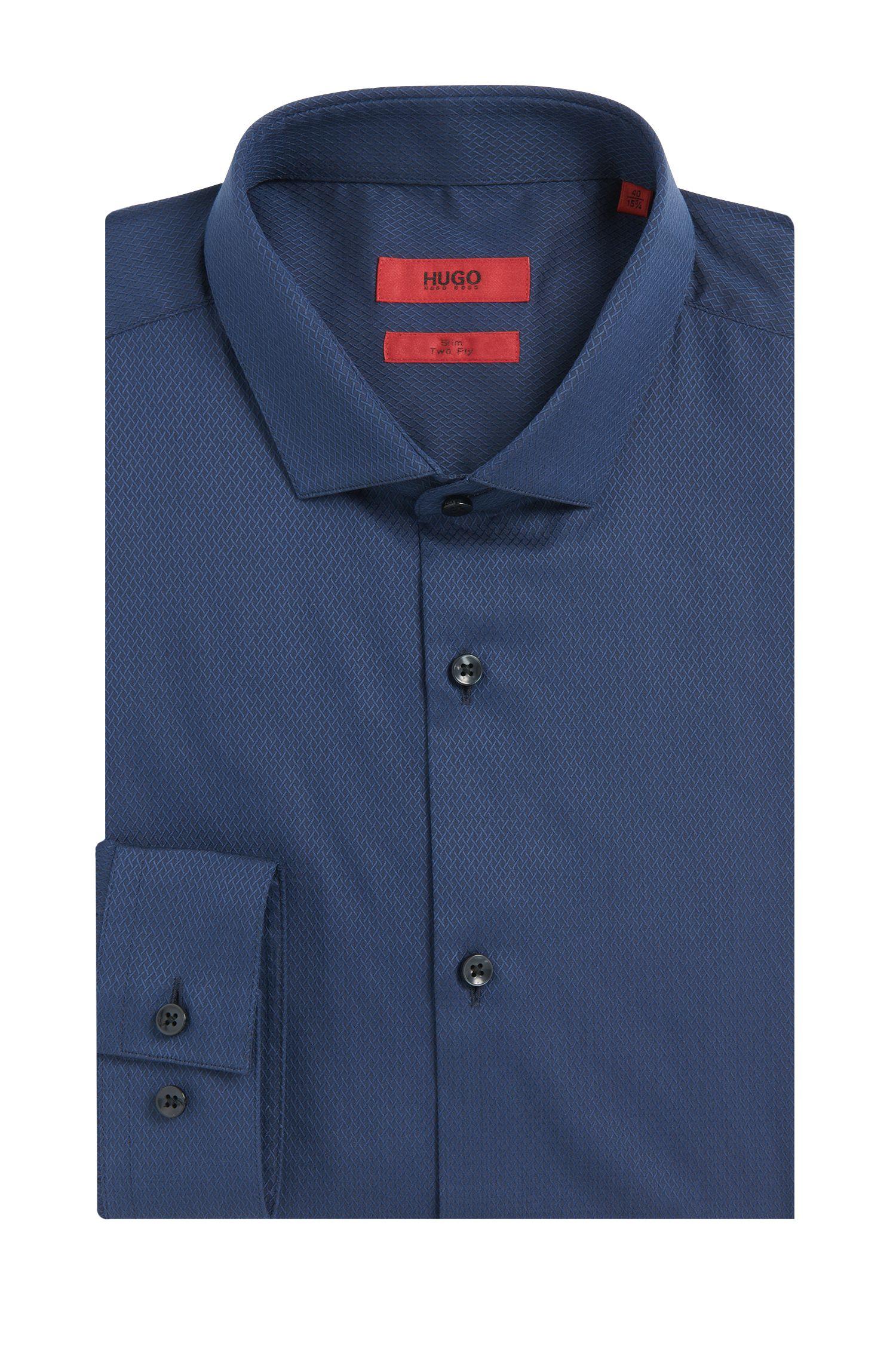 Slim-fit overhemd van katoen met fijn structuurdessin: 'Erondo'