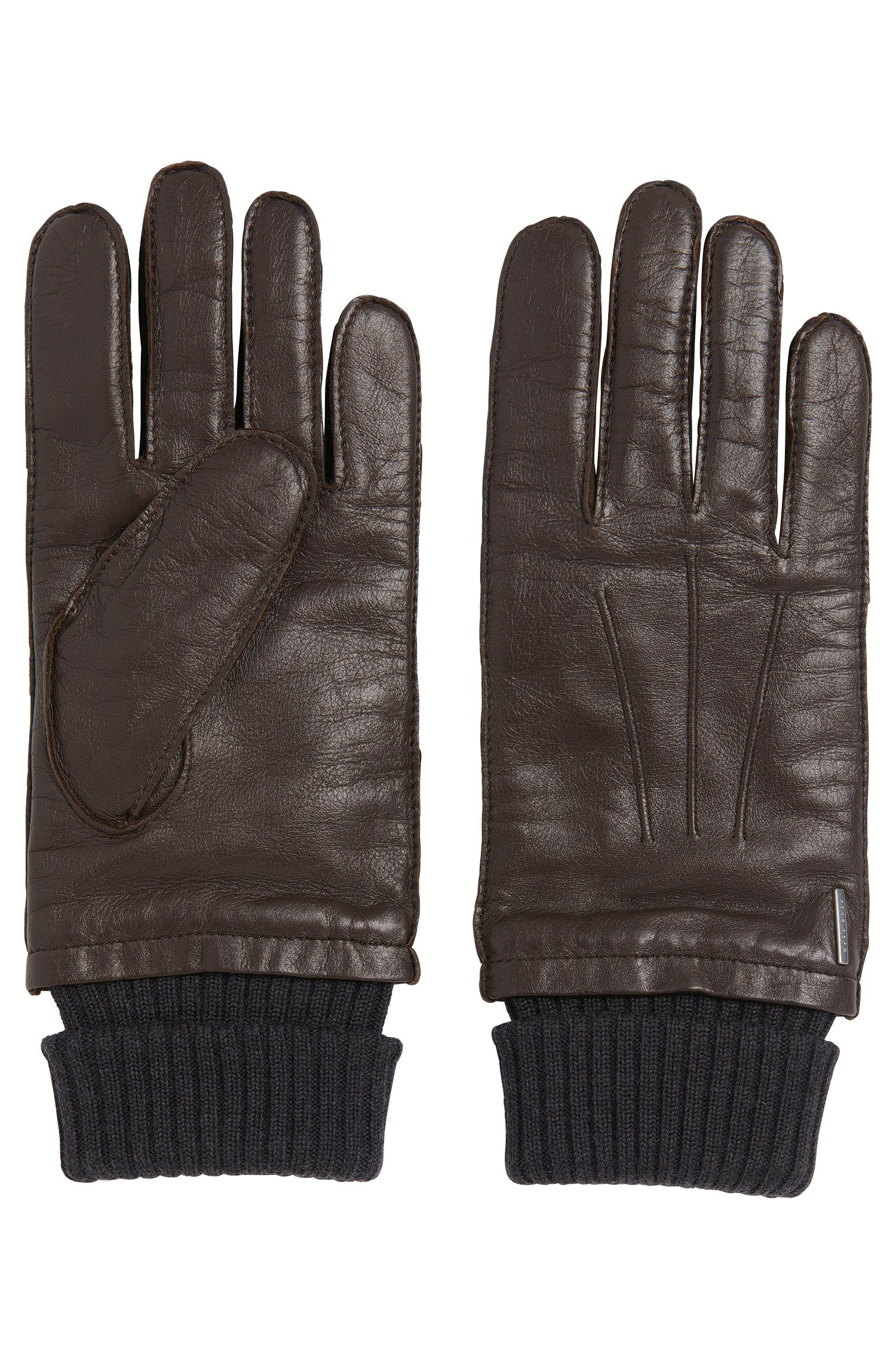 Leather gloves with turned-up ribbed cuff: 'Heyson'