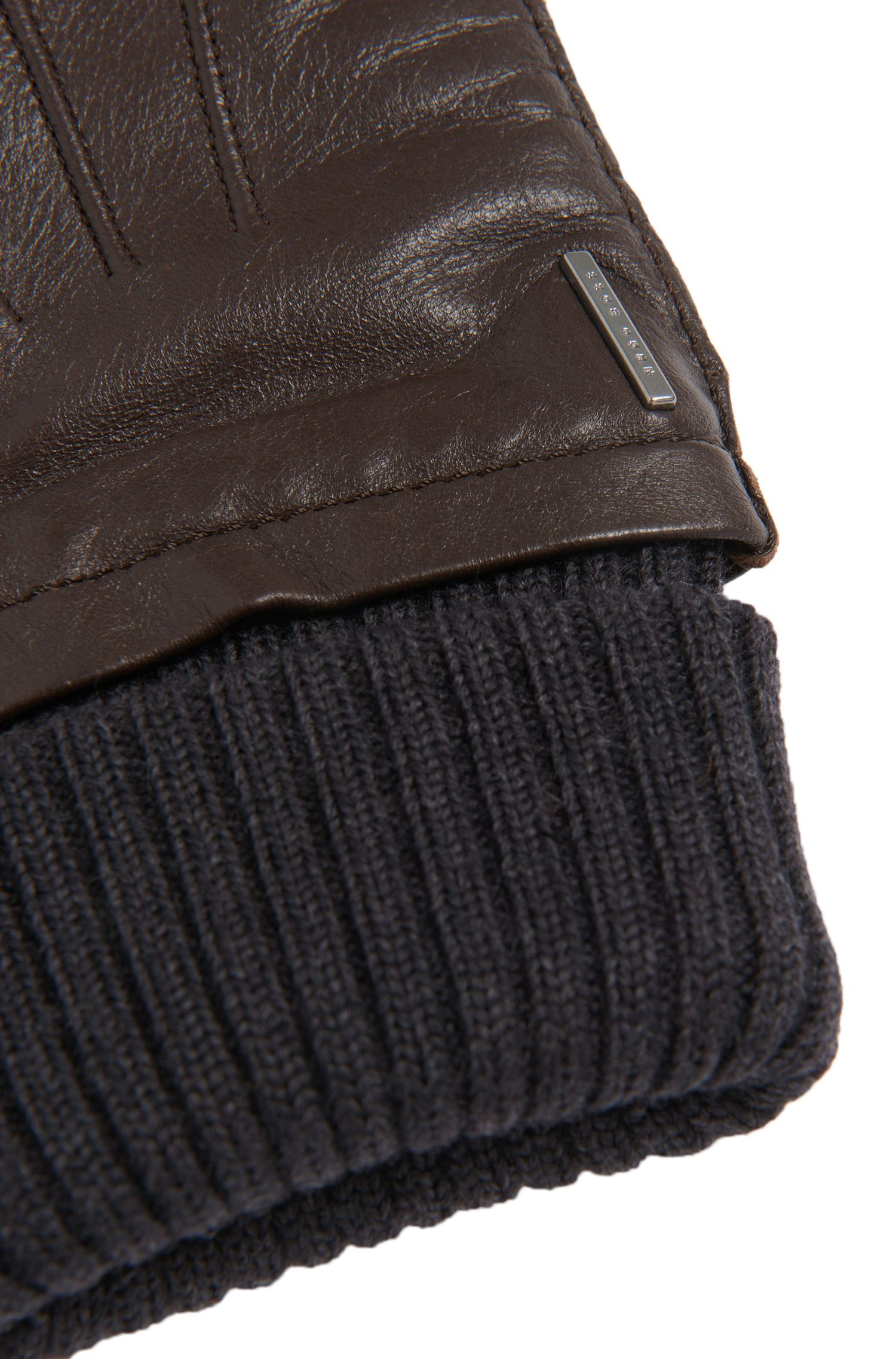 Gants en cuir dotés d'une bordure côtelée à revers: «Heyson»