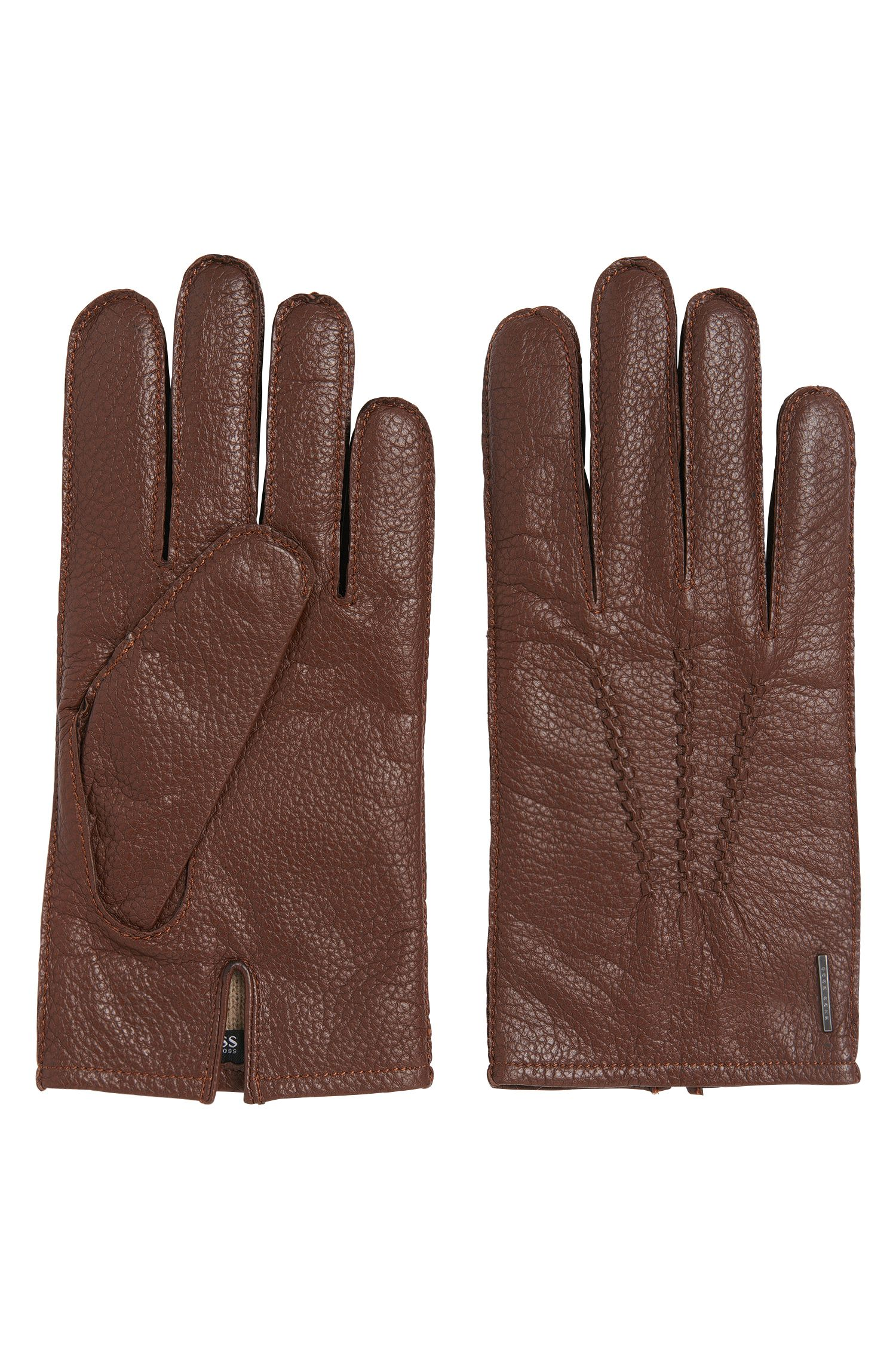 Embossed leather gloves with decorative stitching: 'Hainum'