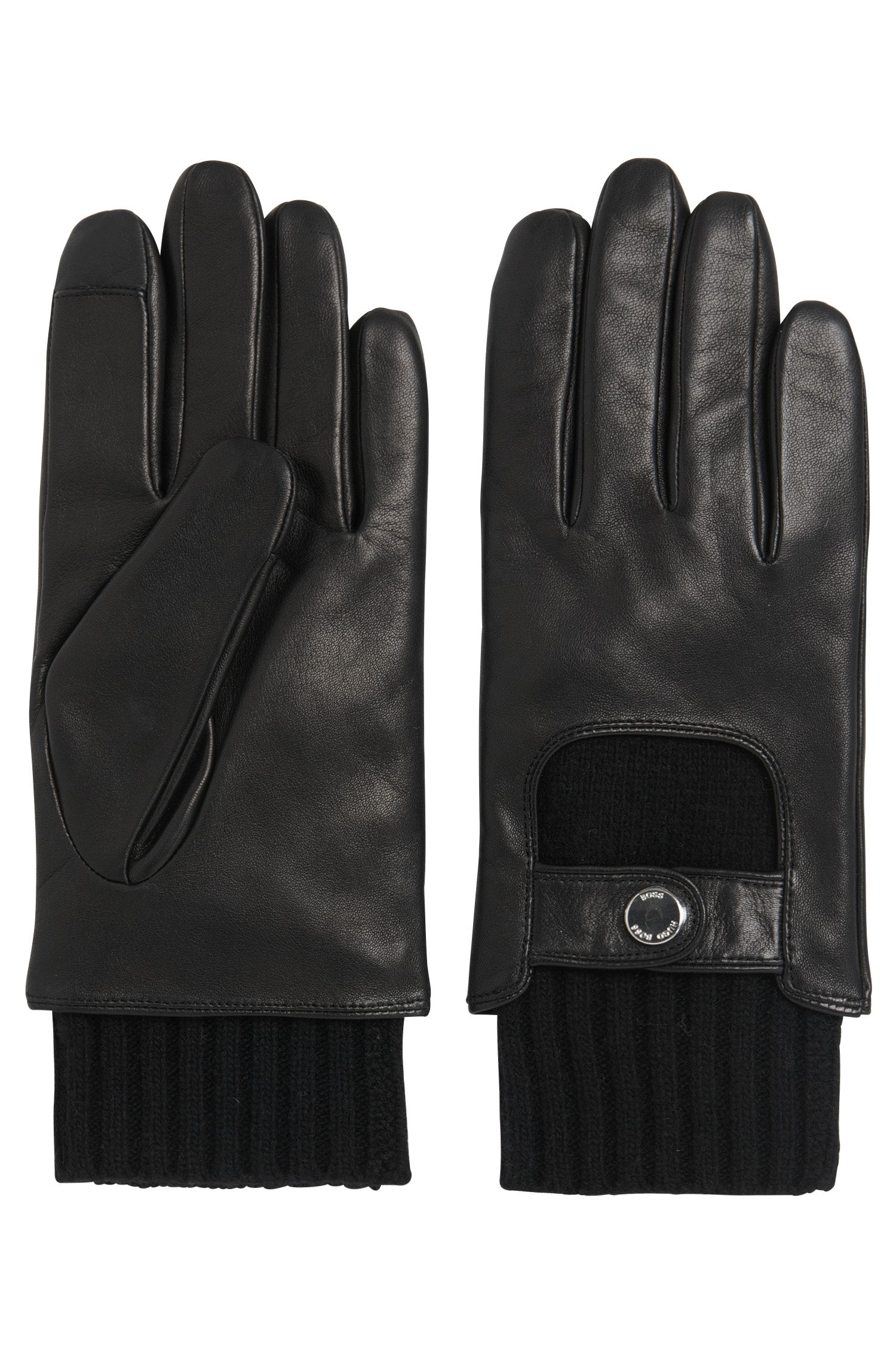 Tailored leather gloves with knit inserts: 'T-Hesky-TT'
