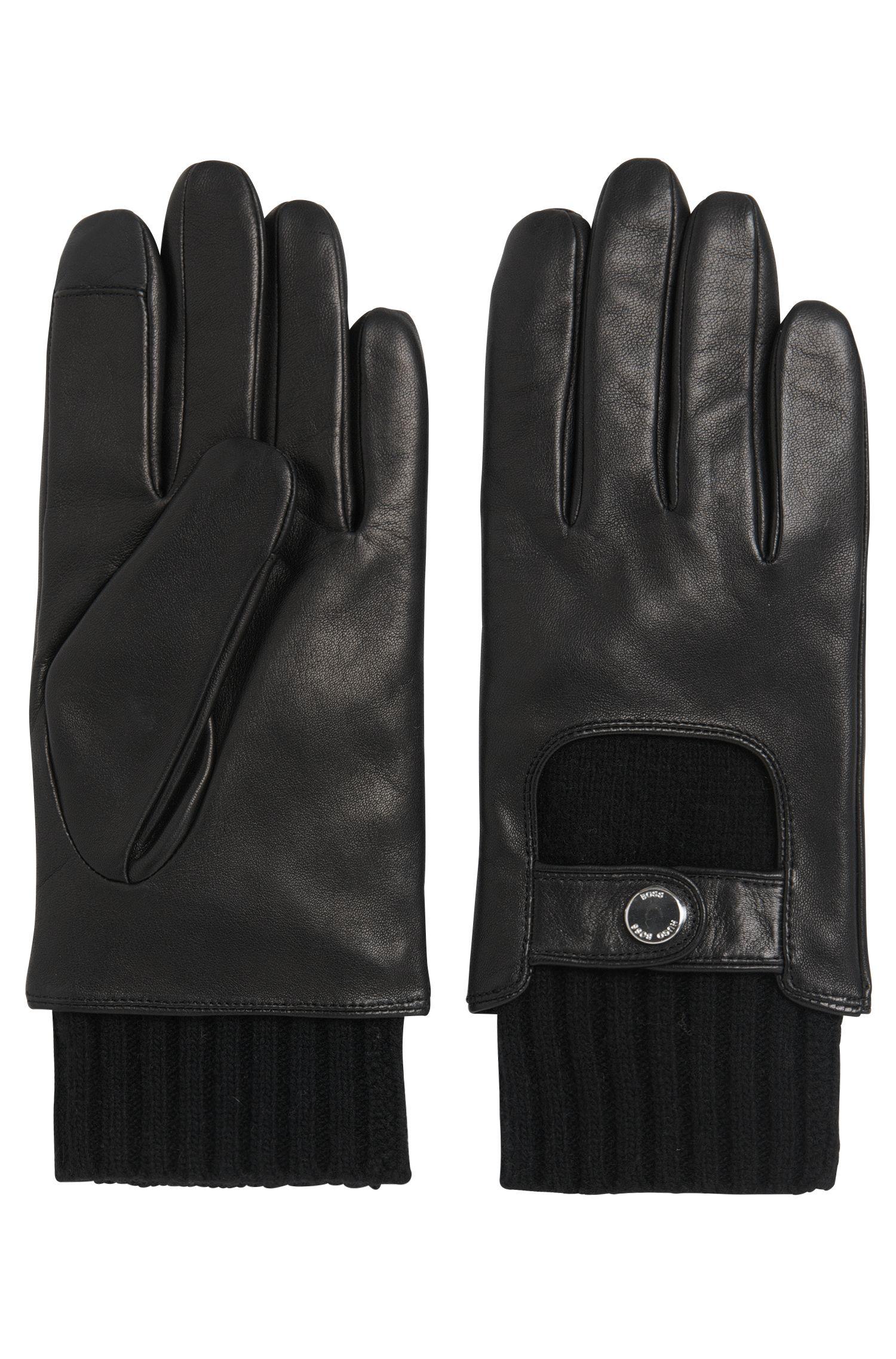 Handschoenen uit de Tailored-collectie, van leer met gebreid inzetstuk: 'T-Hesky-TT'