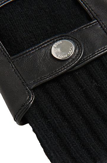 Tailored Handschuhe aus Leder mit Strick-Einsatz: 'T-Hesky-TT', Schwarz