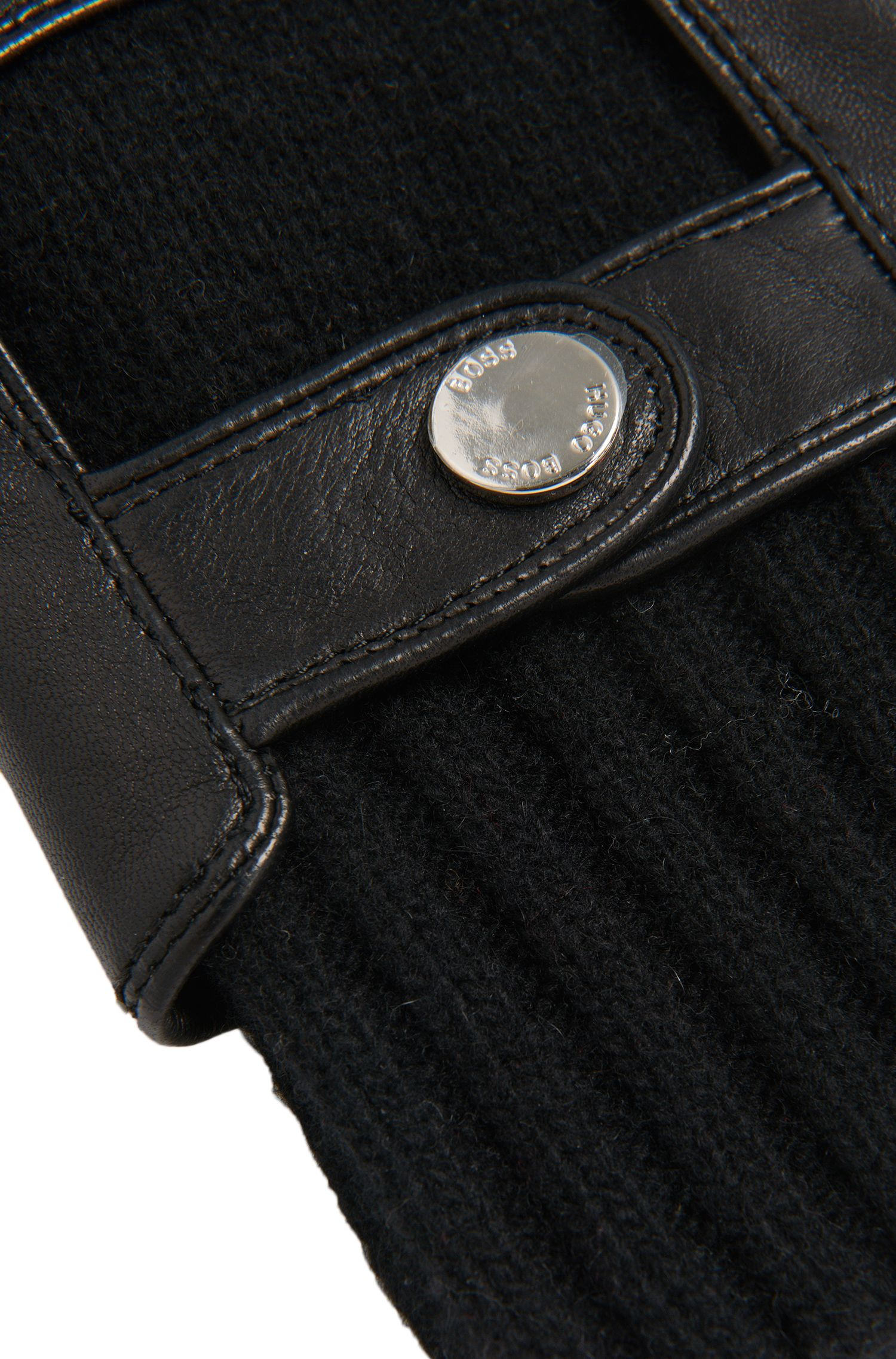 Gants Tailored en cuir avec incrustations en maille: «T-Hesky-TT»