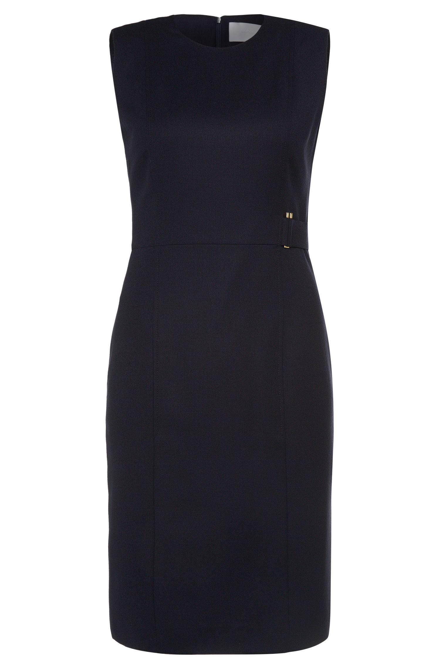 Fitted sheath dress in stretch new wool: 'Dyflena'