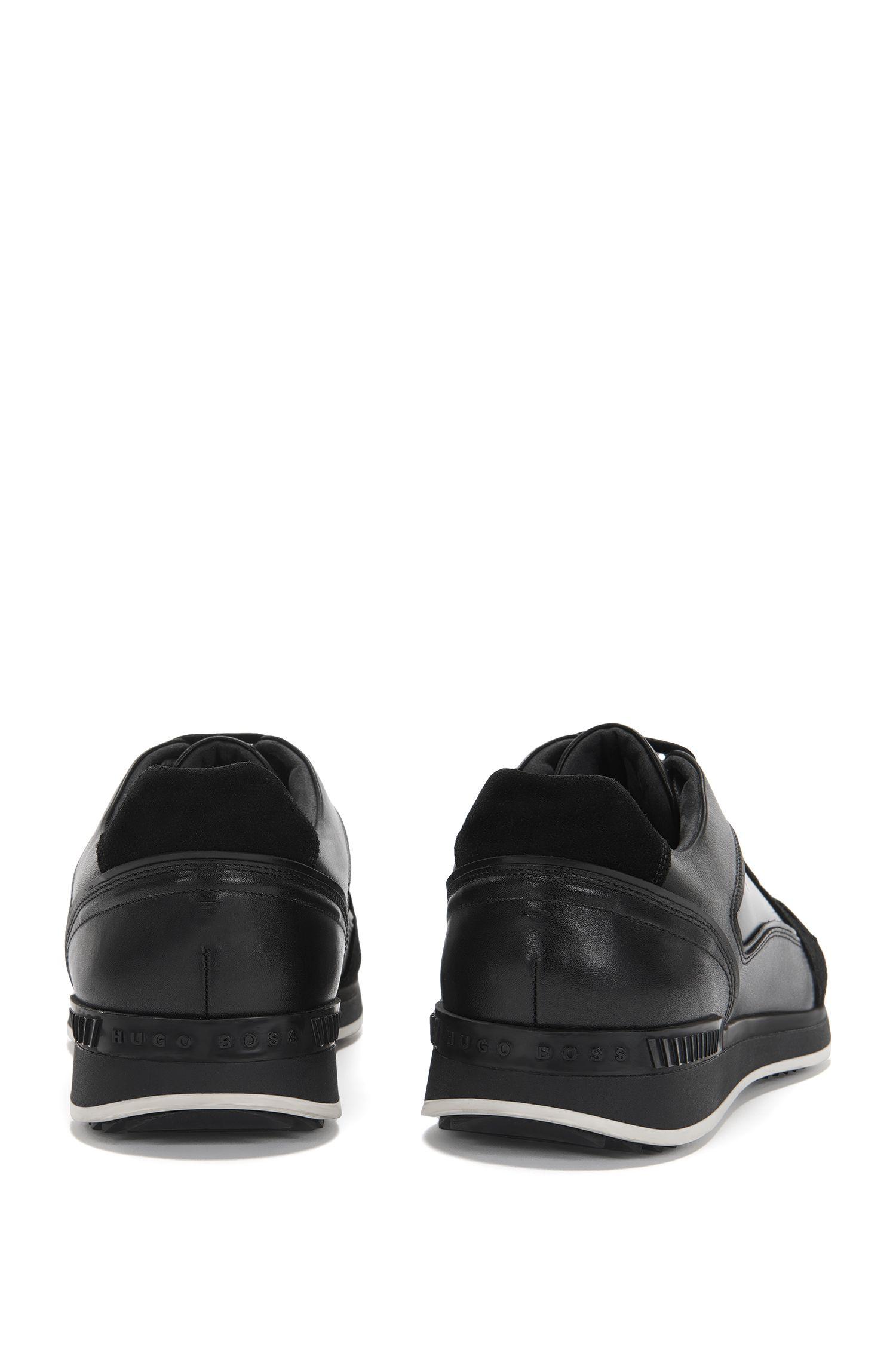 Sneakers van leer in een structuurmix: 'Heritage_Lowp_bosd'