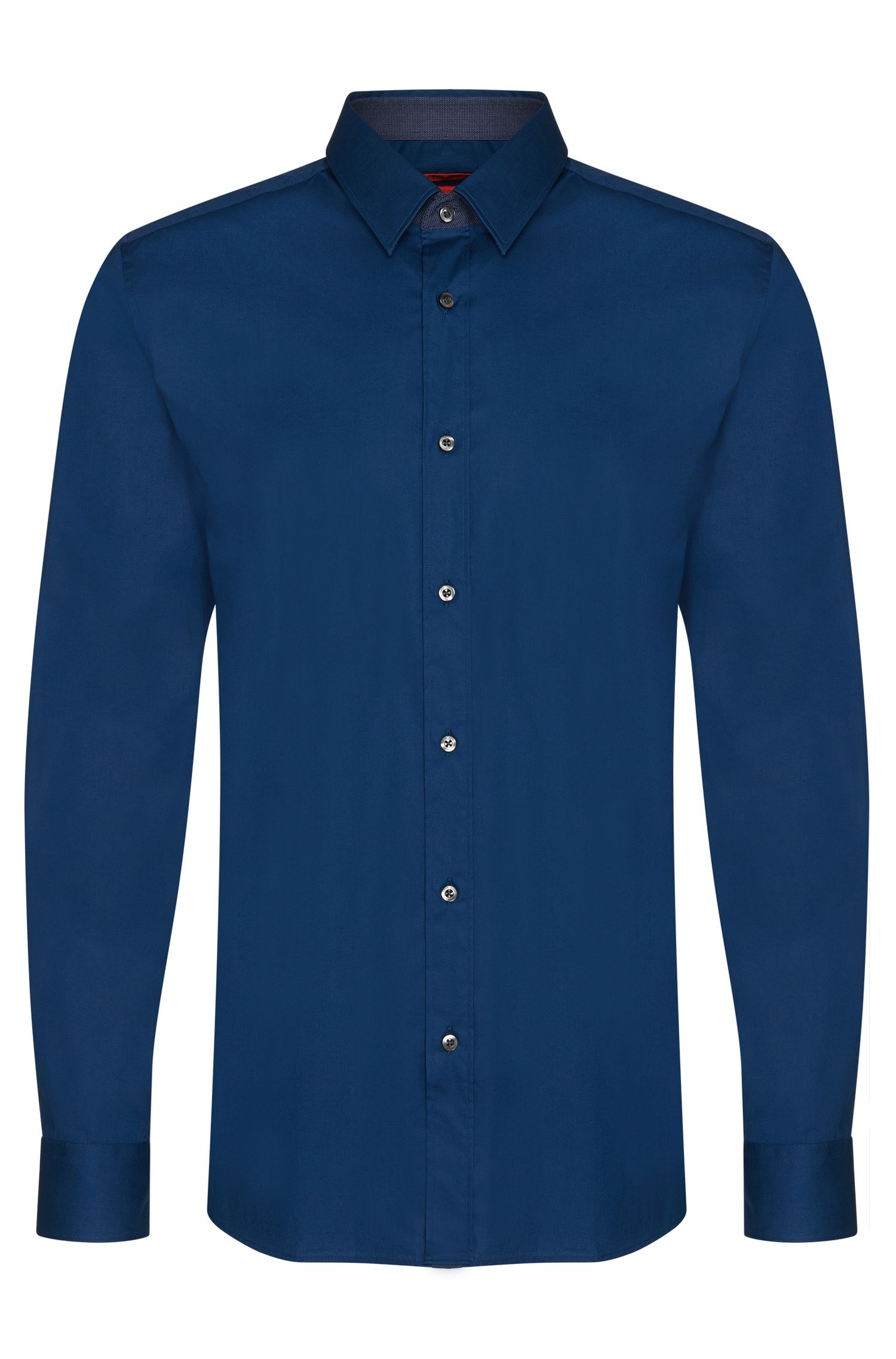 Slim-fit shirt in stretch cotton with contrasting elements: 'Elishan'