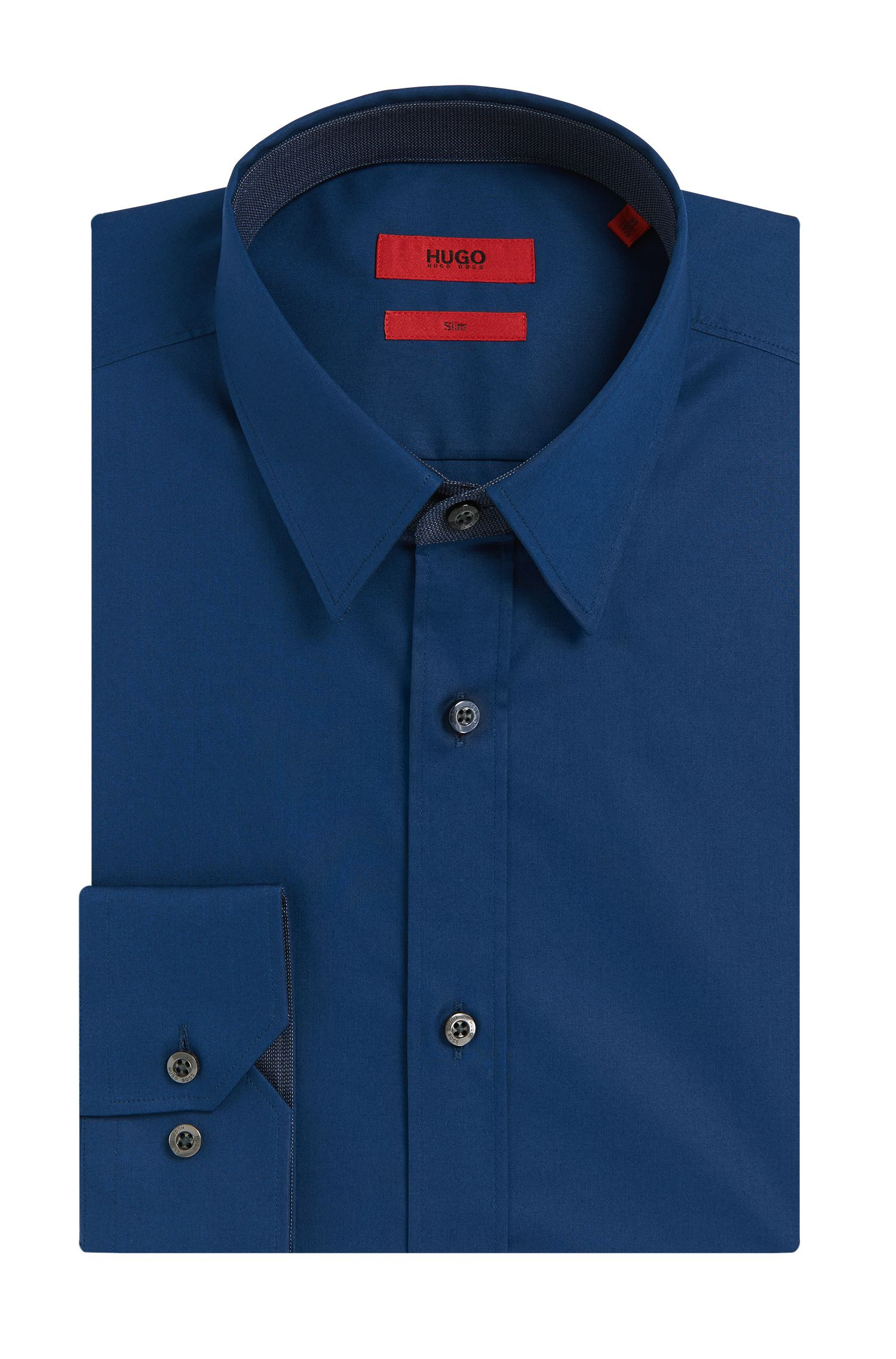 Slim-fit overhemd van stretchkatoen met contrastelementen: 'Elishan'