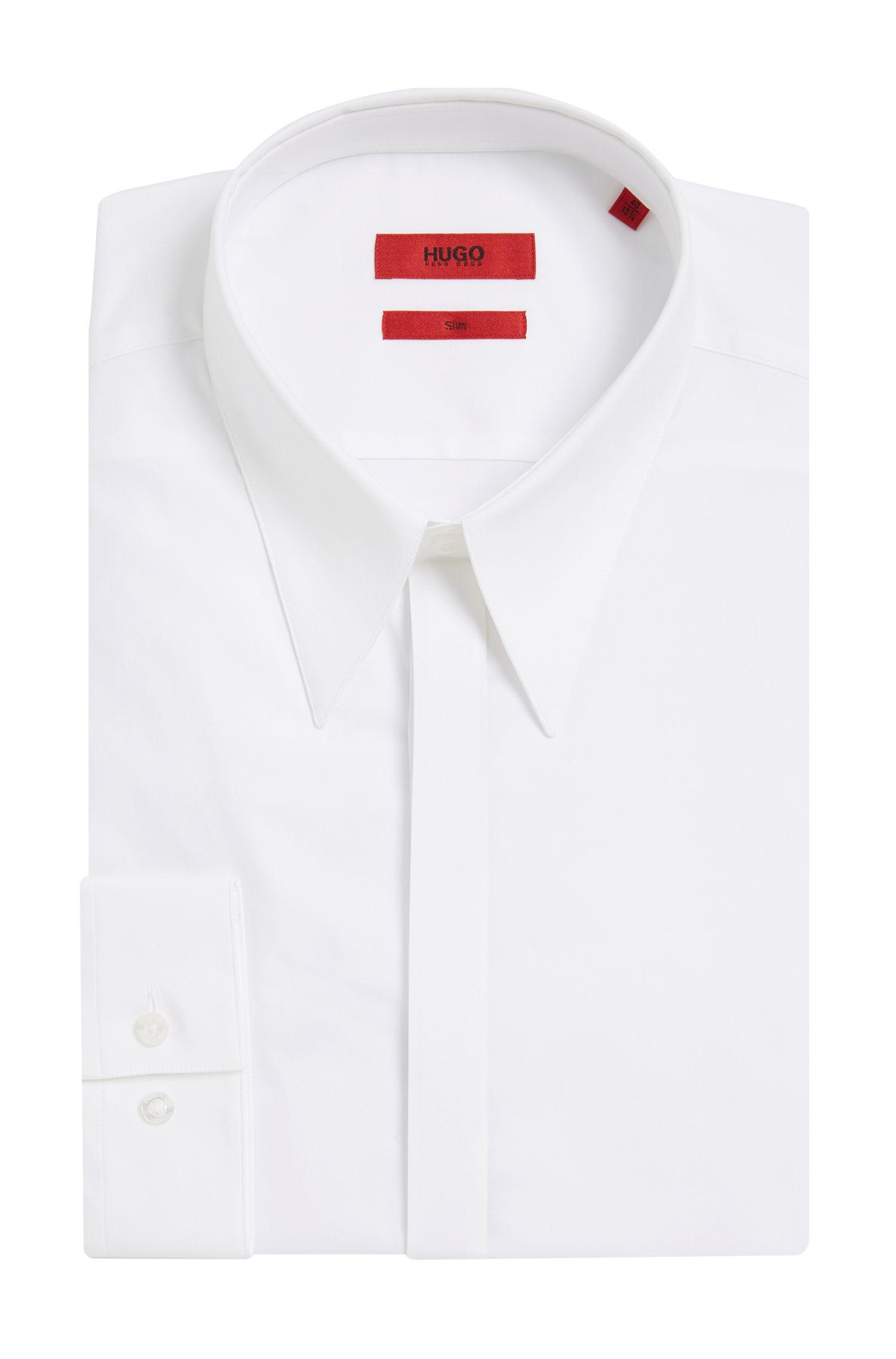 Slim-fit overhemd van stretchkatoen met verdekte knoopsluiting: 'Enek'