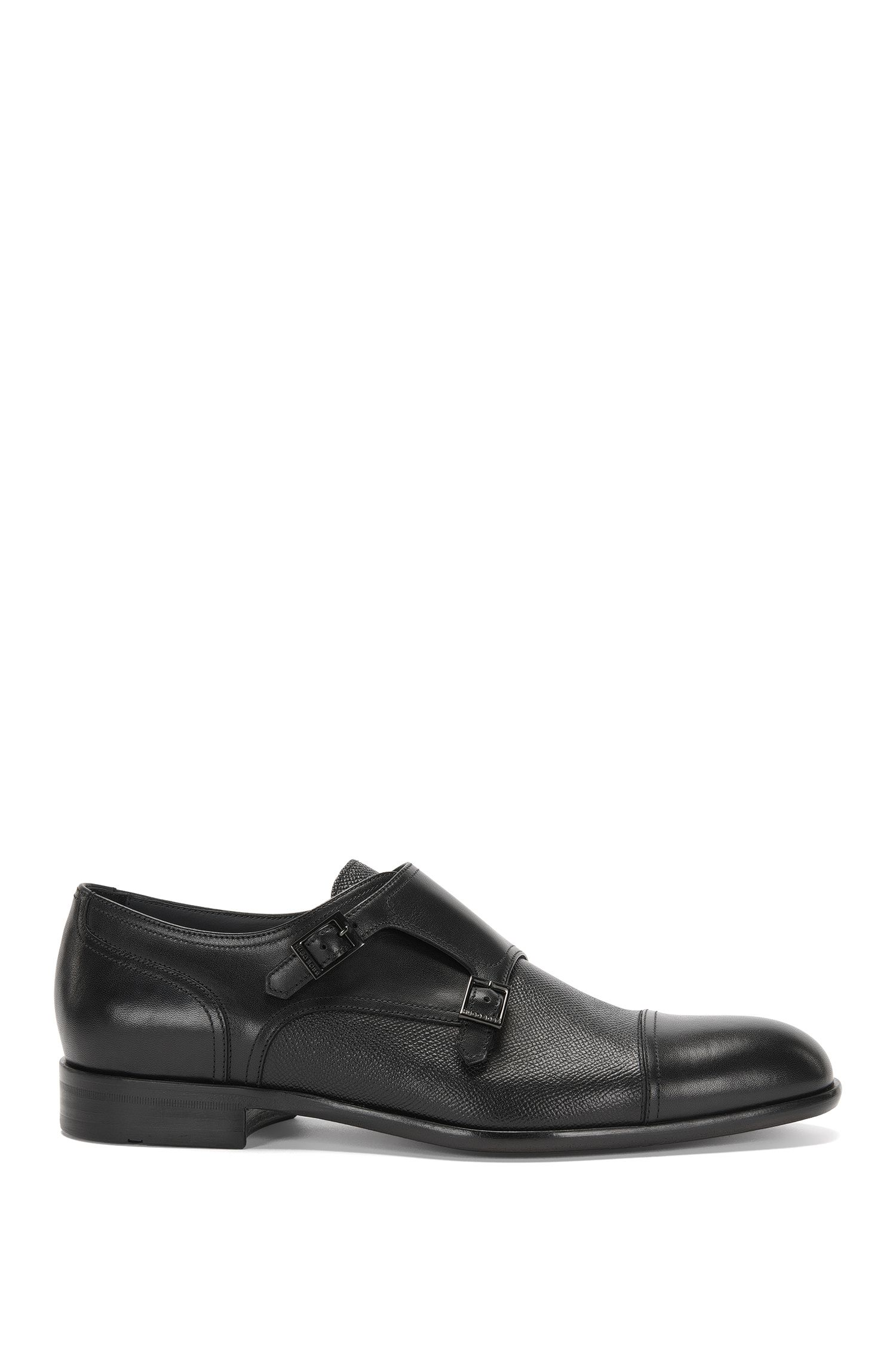 Leather double monk shoes in a mixture of textures: 'Manhattan_Monk_mxct'