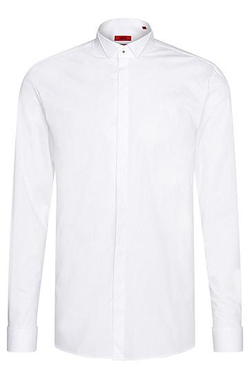 Slim-Fit Smokinghemd aus elastischer Baumwolle: 'Escot', Weiß