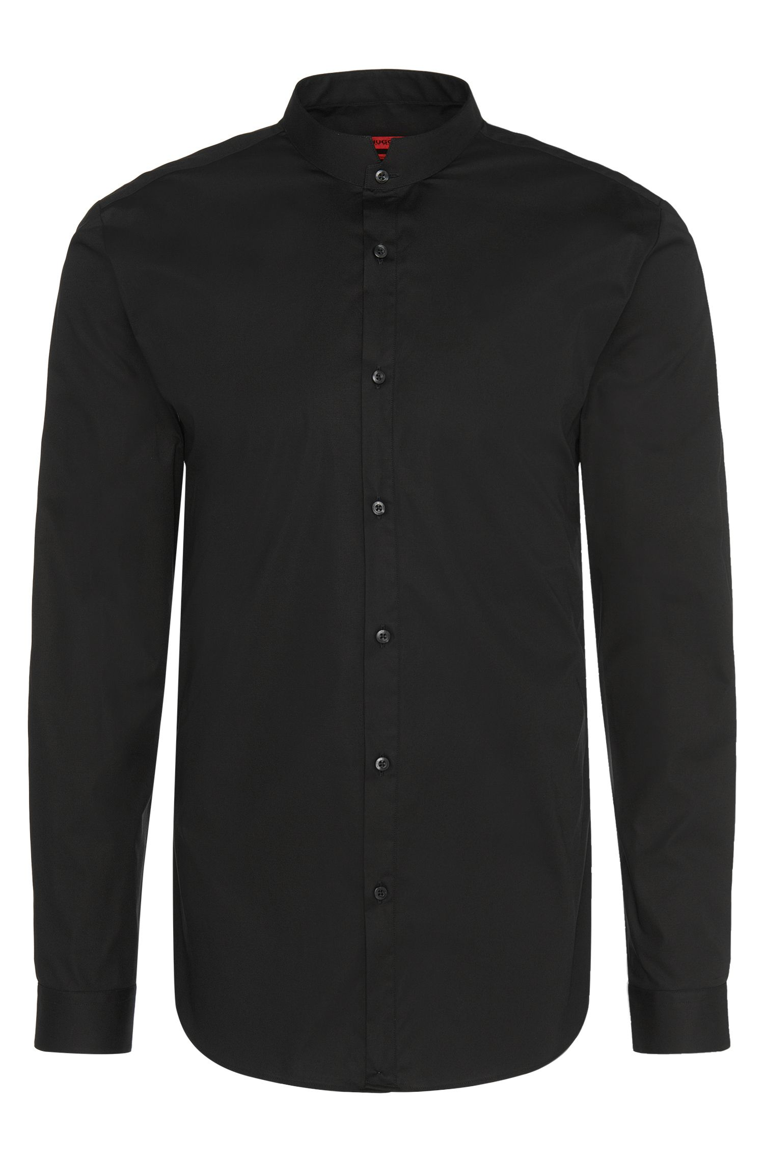 Chemise Slim Fit en coton stretch à col mao : « Elvor »