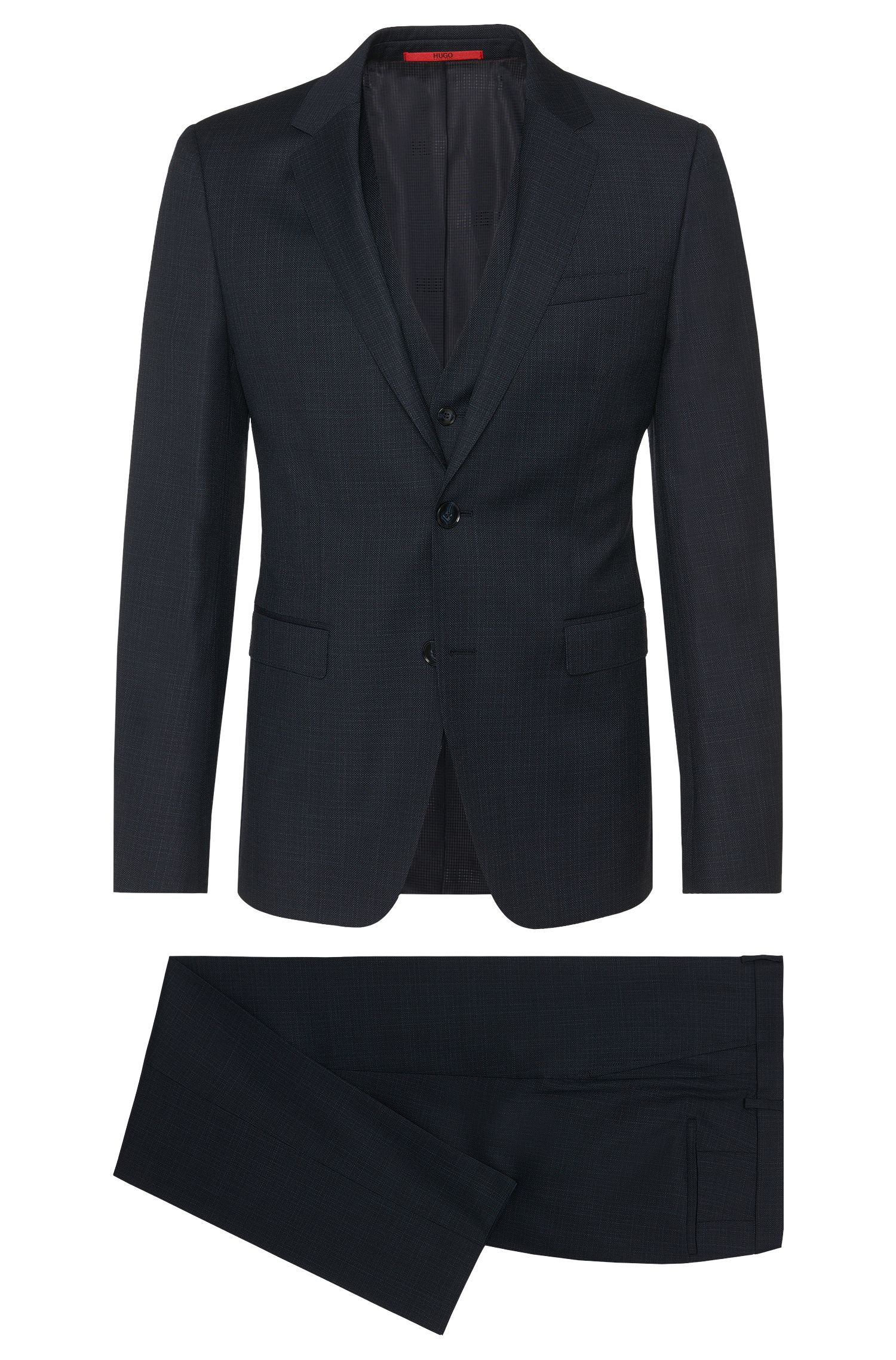 Abito slim fit in lana vergine a righe delicate con gilet: 'Adwart/Wilard/Hets'