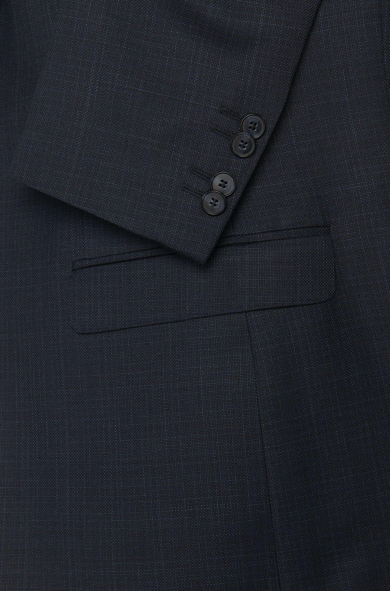 Subtiel gestreept slim-fit kostuum van scheerwol met gilet: 'Adwart/Wilard/Hets'