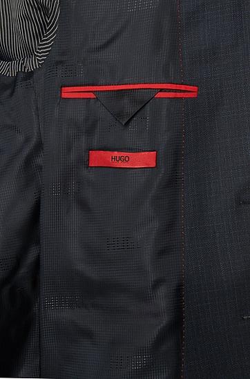 Dezent gestreifter Slim-Fit Anzug aus Schurwolle mit Weste: 'Adwart/Wilard/Hets', Dunkelblau