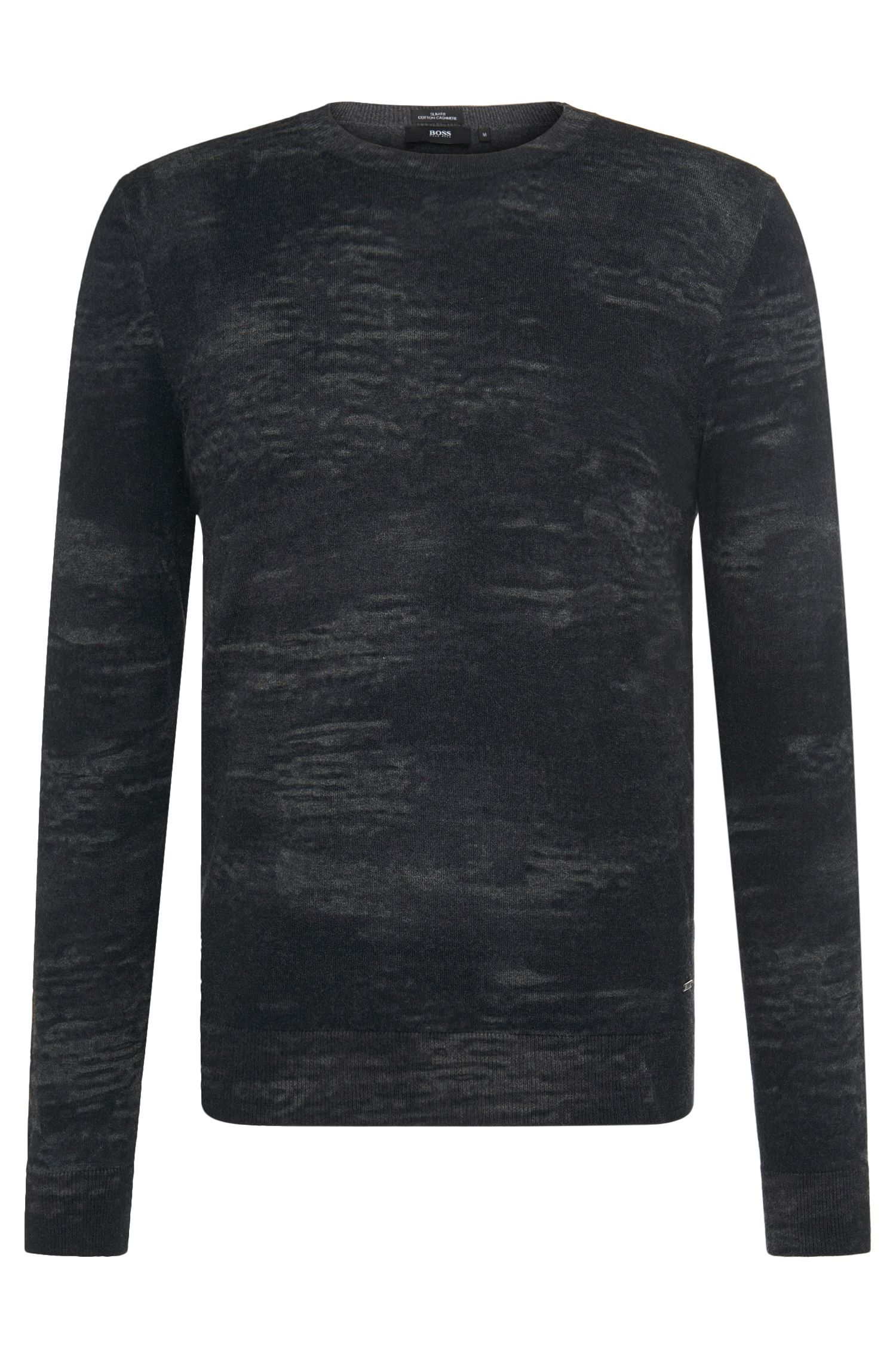 Patterned slim-fit sweater in a cotton blend with cashmere: 'Bernino'