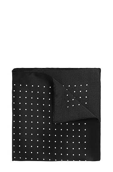 Gepunktetes Einstecktuch aus Seide: 'Pocket sq. cm 33x33', Schwarz