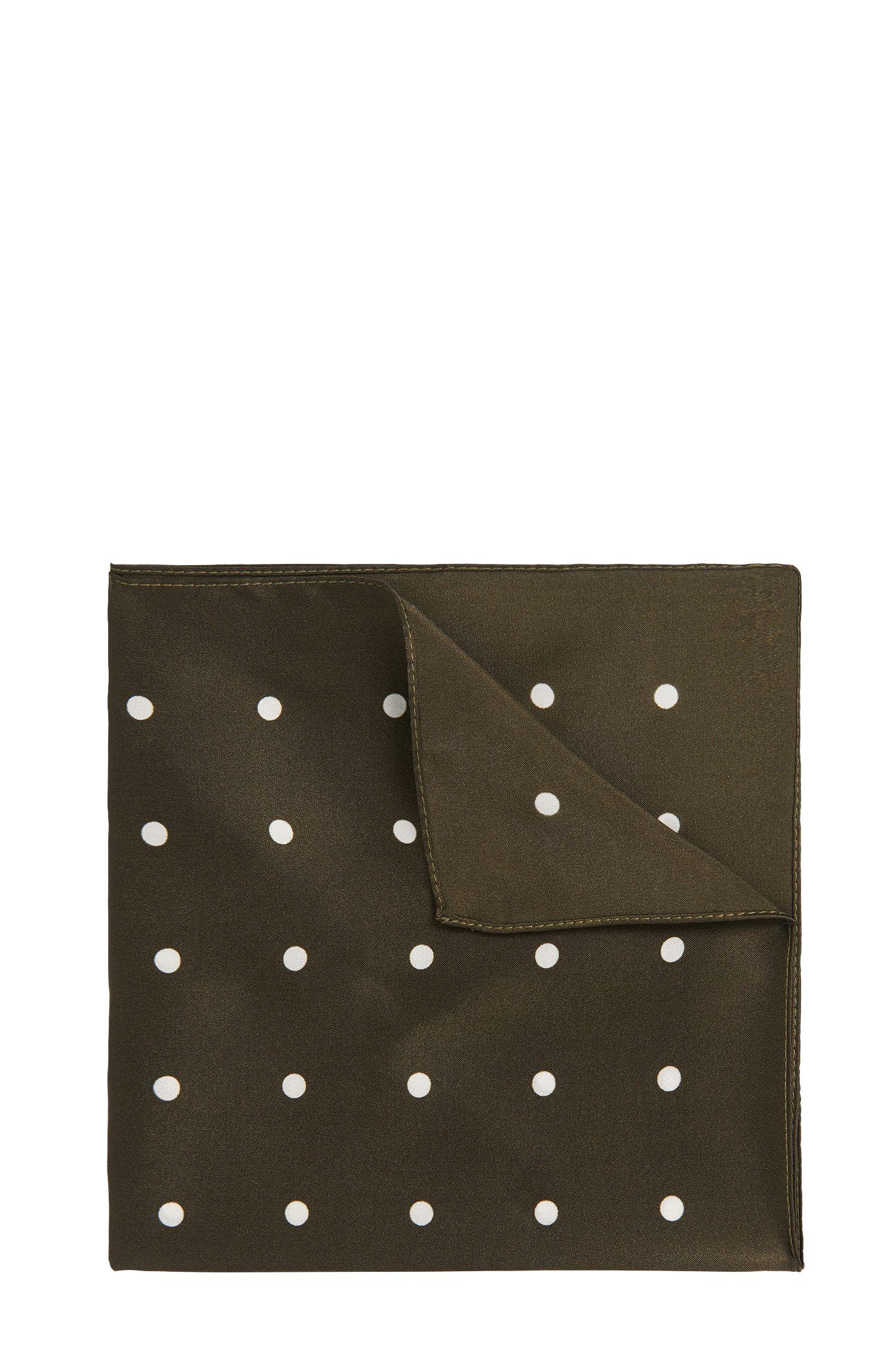 Gestippelde pochet van zijde: 'Pocket sq. cm 33x33'
