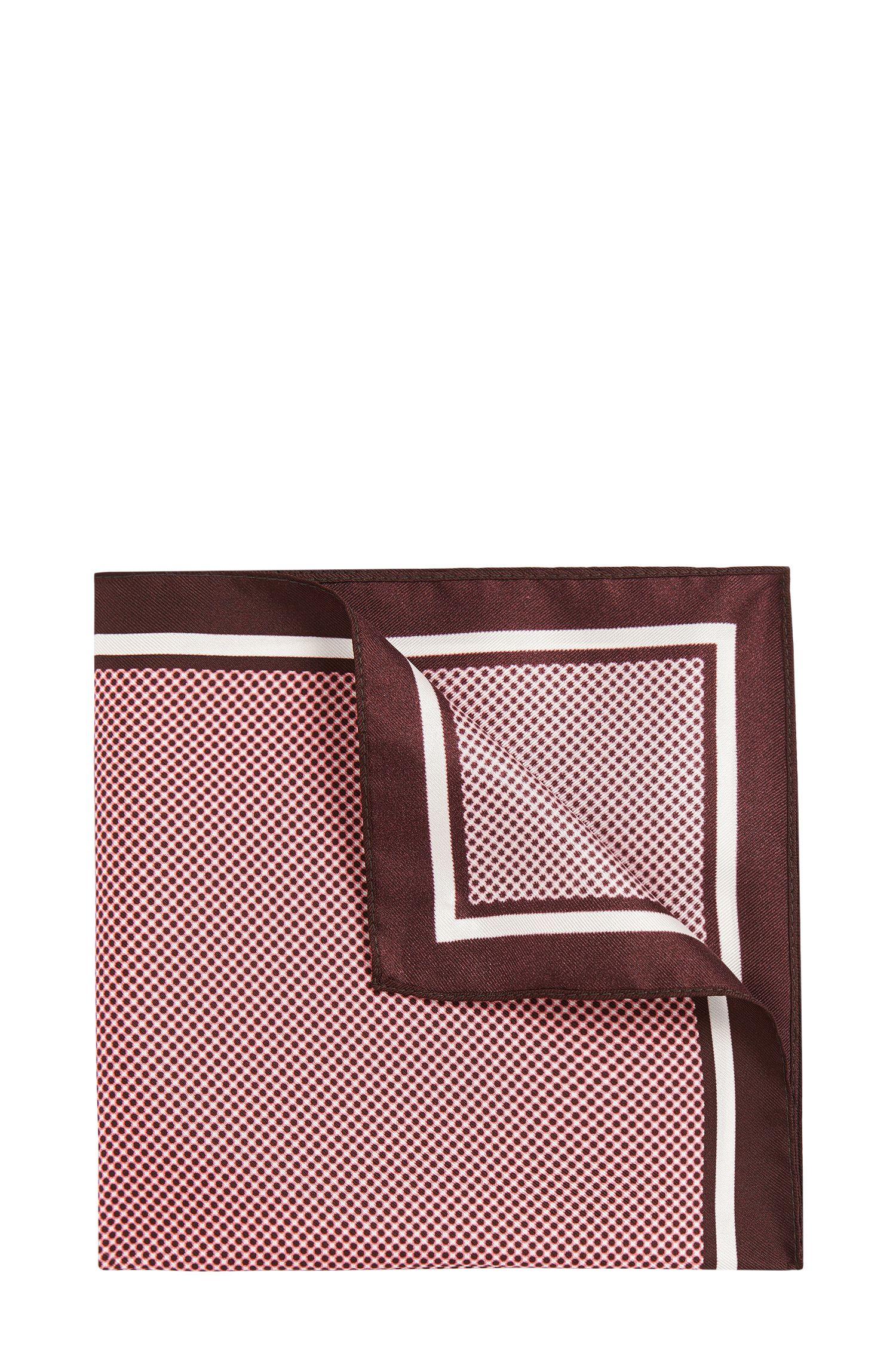 Gestippeld pochet van zijde: 'Pocket sq. cm 33x33'
