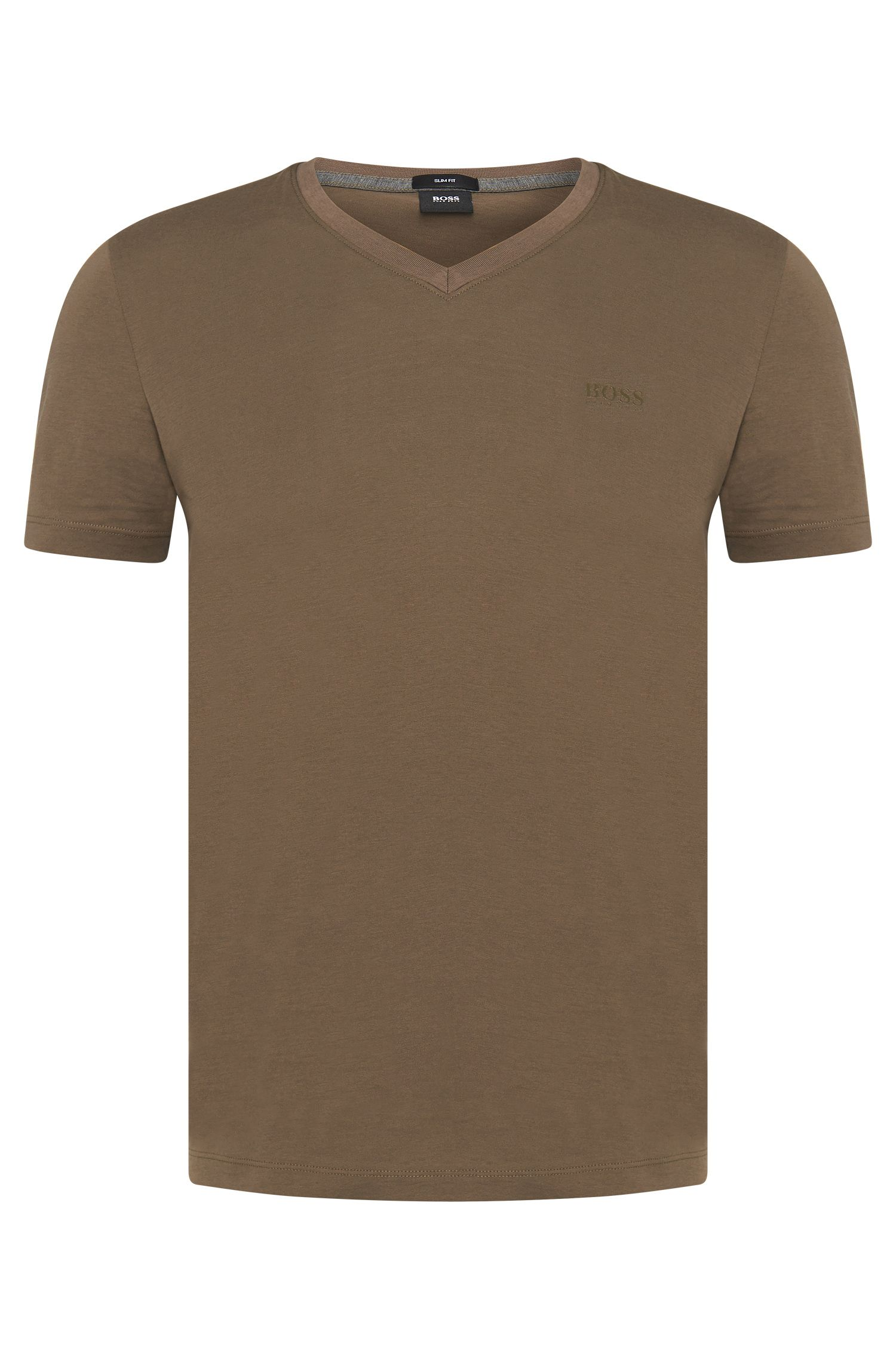 Slim-fit cotton t-shirt with V-neck: 'Teal 11'