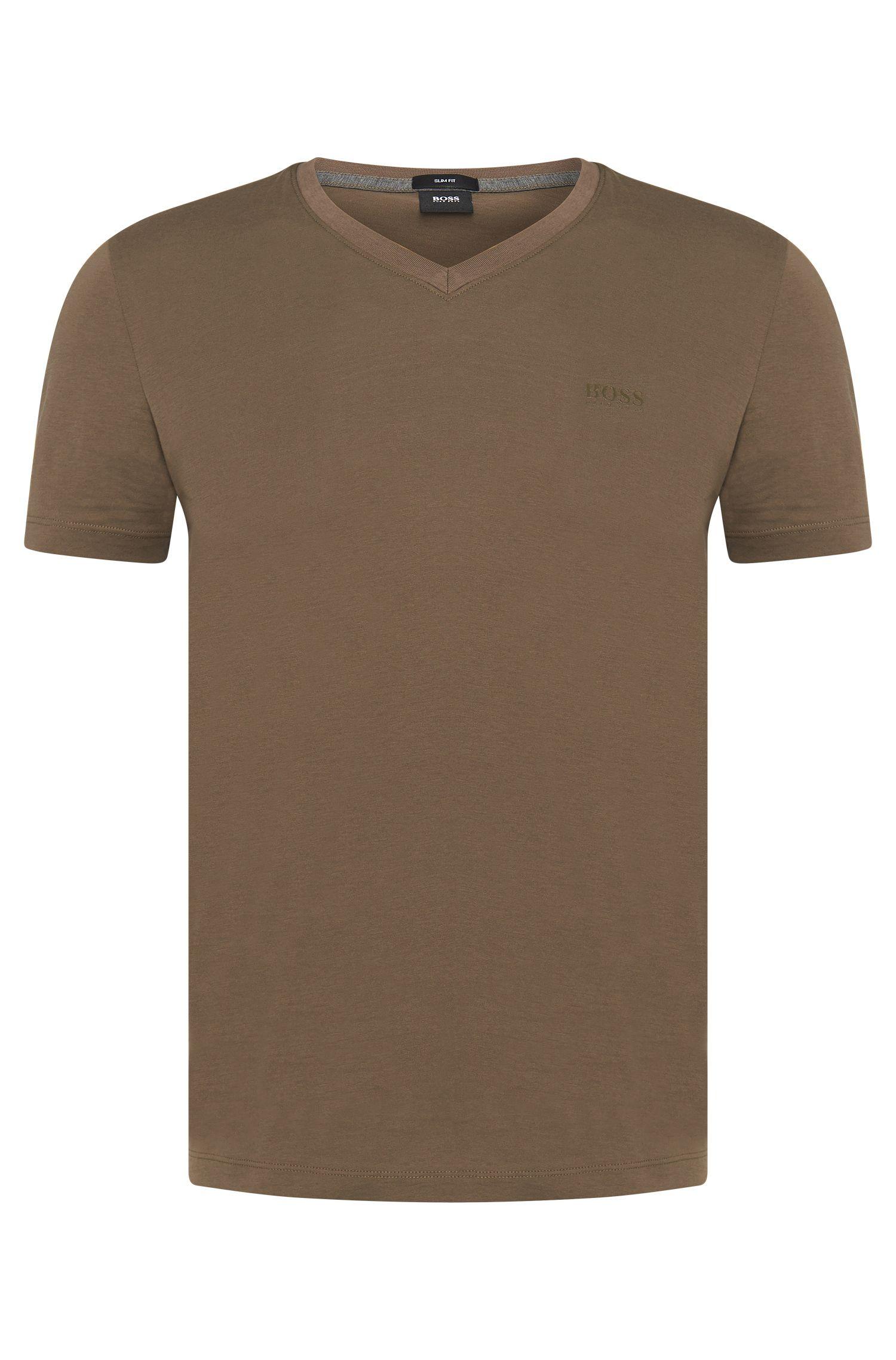 Camiseta slim fit de algodón con cuello en pico: 'Teal 11'