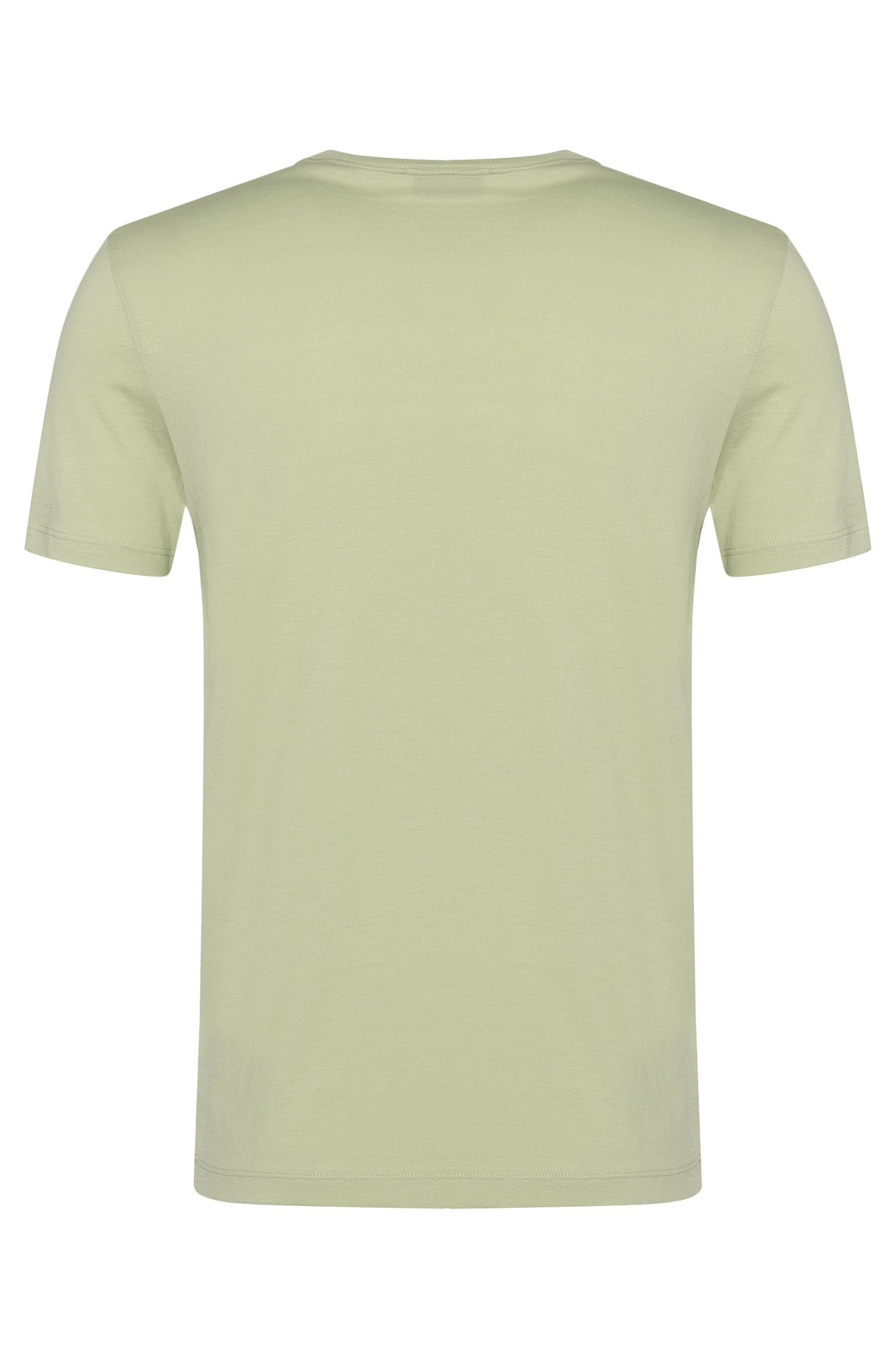 T-shirt Slim Fit en coton, à col V : « Teal 11 »