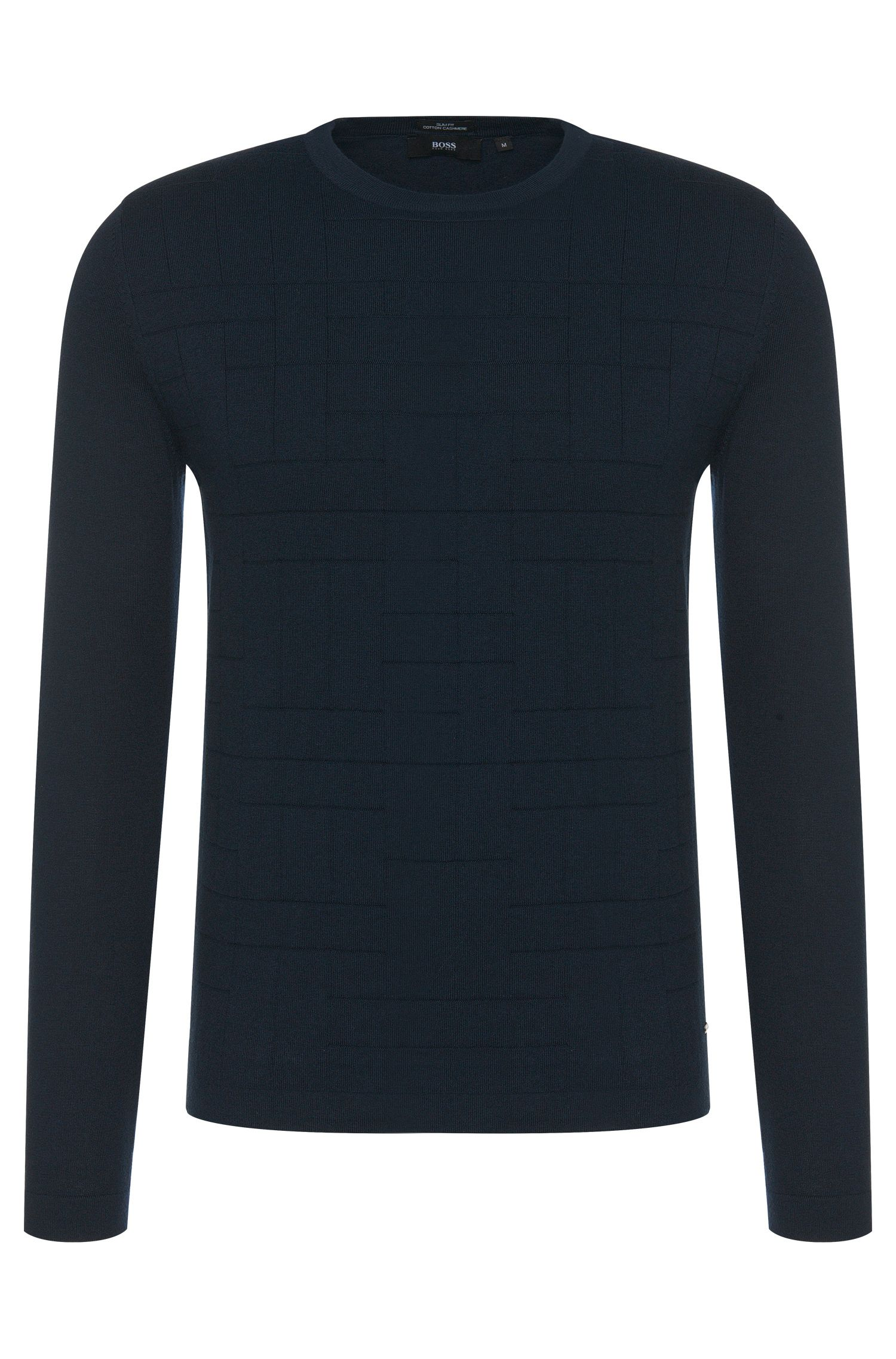 Slim-fit sweater in a cotton blend with cashmere and a geometric front pattern: 'Balboni'