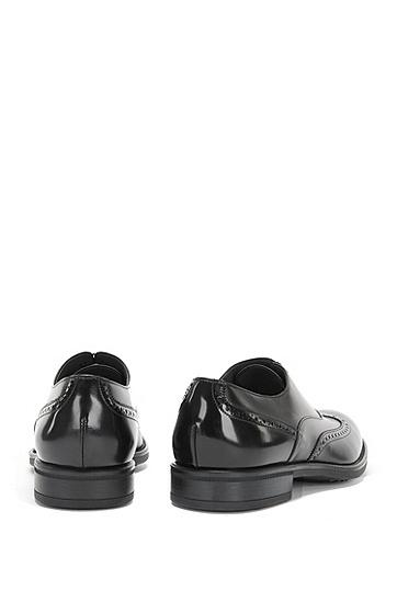 Schnürschuhe aus Leder mit Lochmuster: 'Kenth_Oxfr_ltwtb', Schwarz