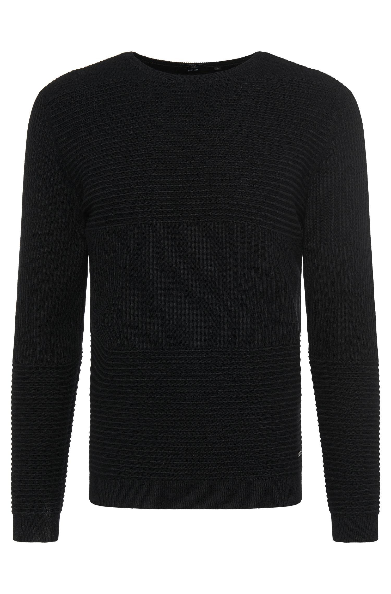 Jersey slim fit en mezcla de algodón y lana virgen con estampado de textura: 'Banty'