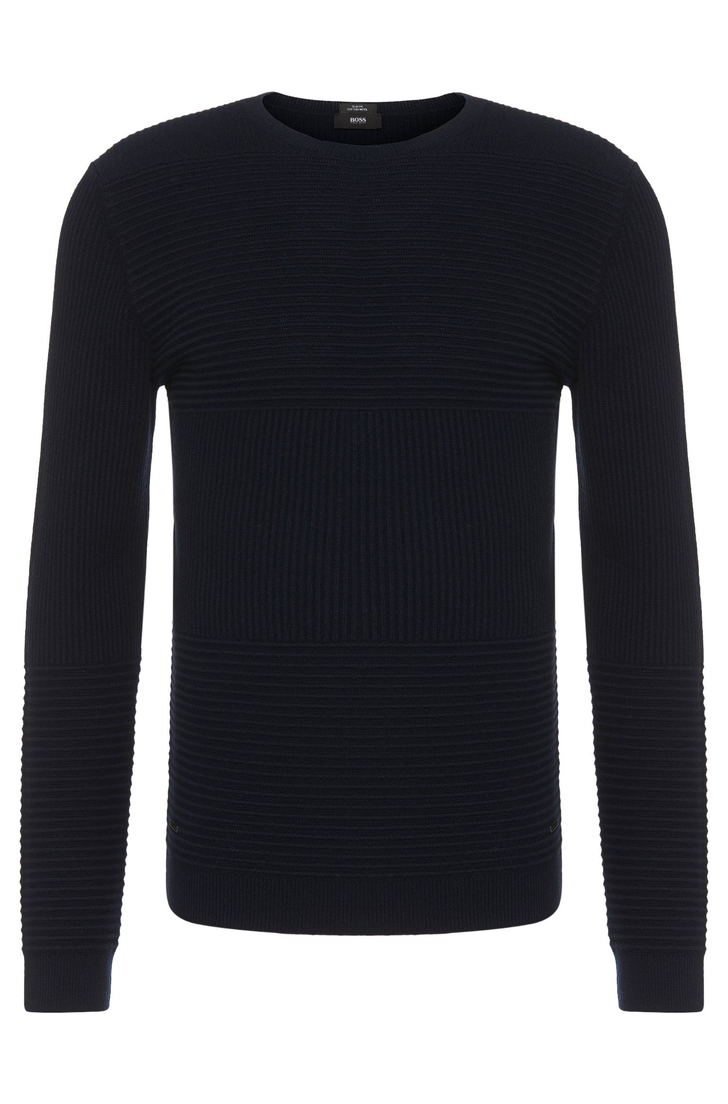 Slim-fit sweater in new wool and cotton blend with a textured pattern: 'Banty'