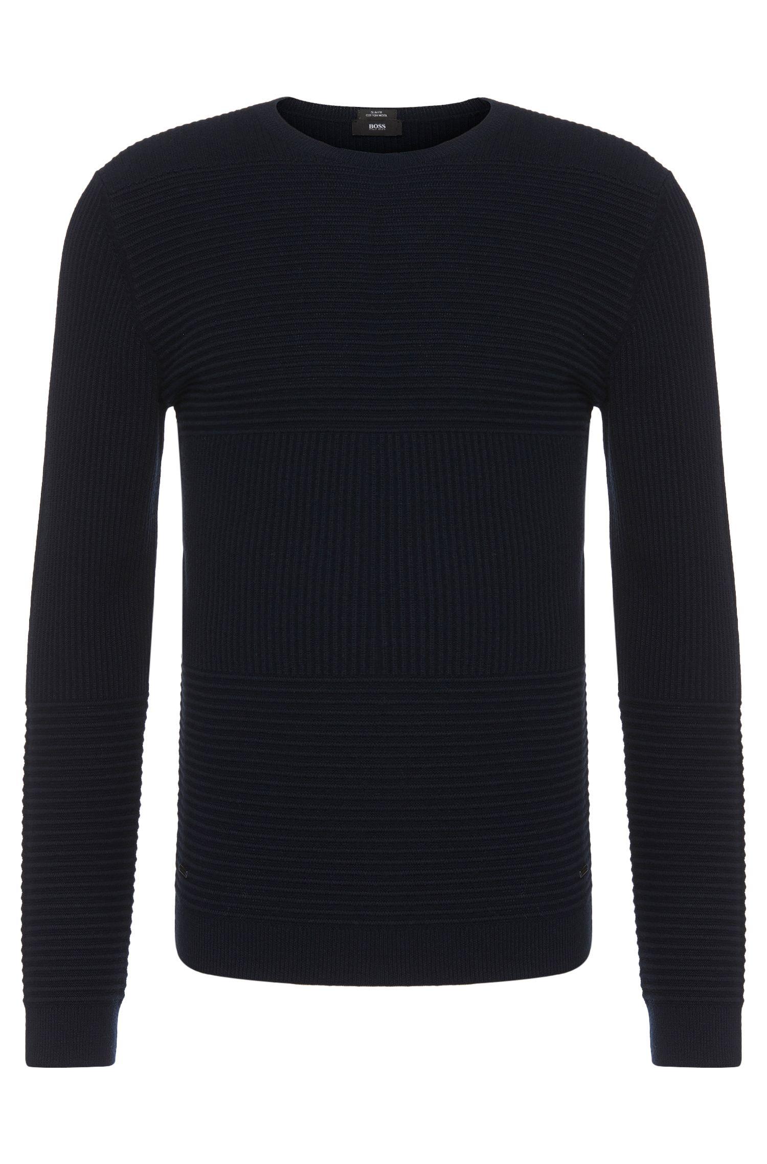 Maglione slim fit in misto cotone-lana vergine con motivo strutturale: 'Banty'