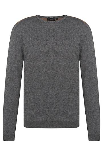 Zweifarbiger Regular-Fit Pullover aus Baumwolle und Schurwolle: 'Bocci', Grau