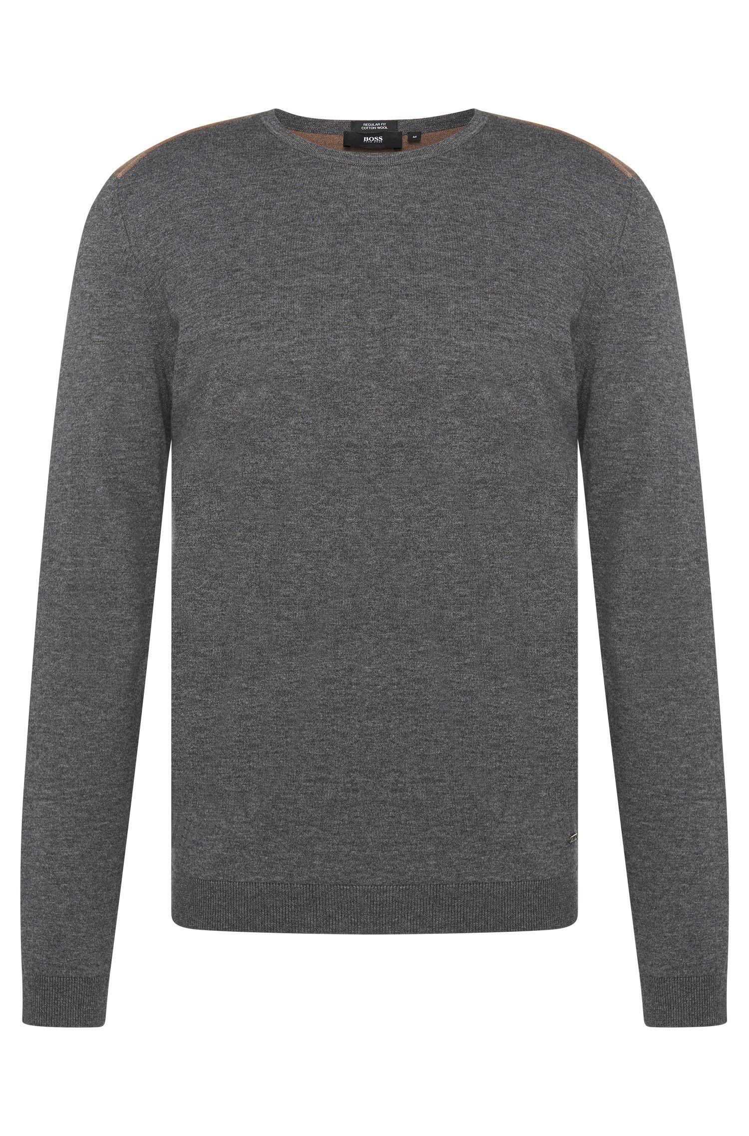 Pull bicolore Regular Fit en coton et laine vierge: «Bocci»