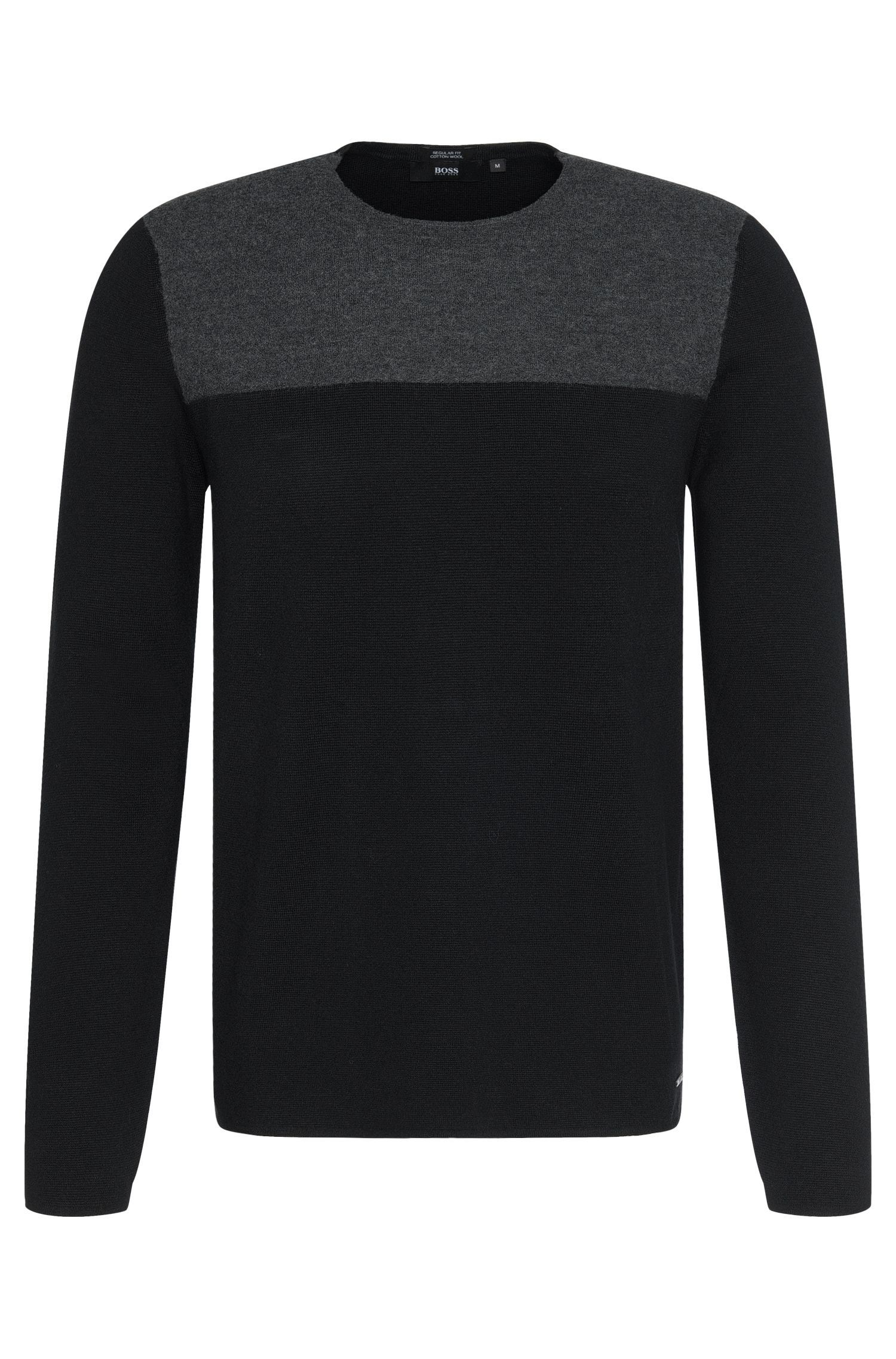 Regular-fit sweater in cotton blend with new wool: 'Brevo'