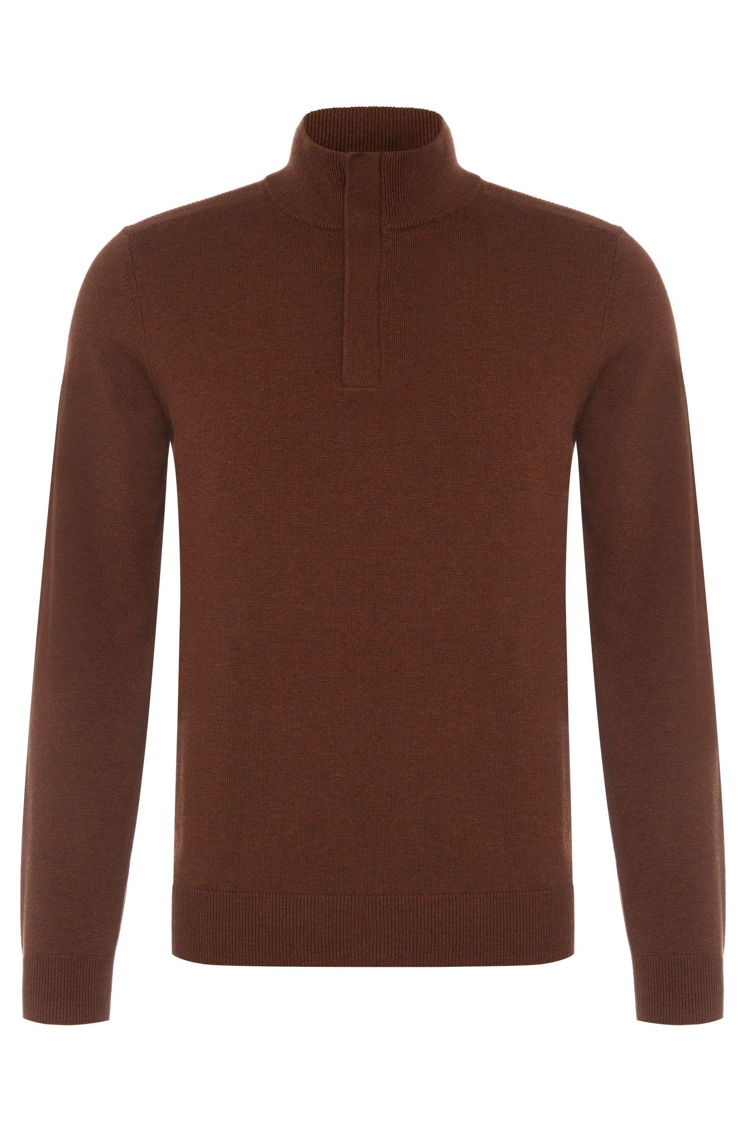 Maglione regular fit in misto cotone-lana con colletto alla coreana: 'Bonny'