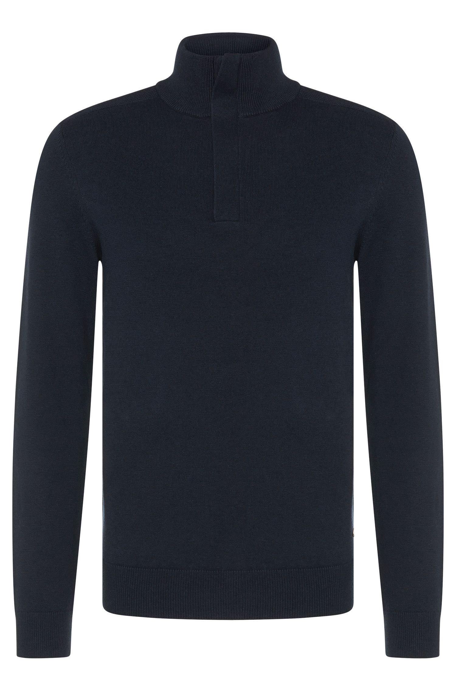 Jersey regular fit en mezcla de lana y algodón con cuello mao: 'Bonny'
