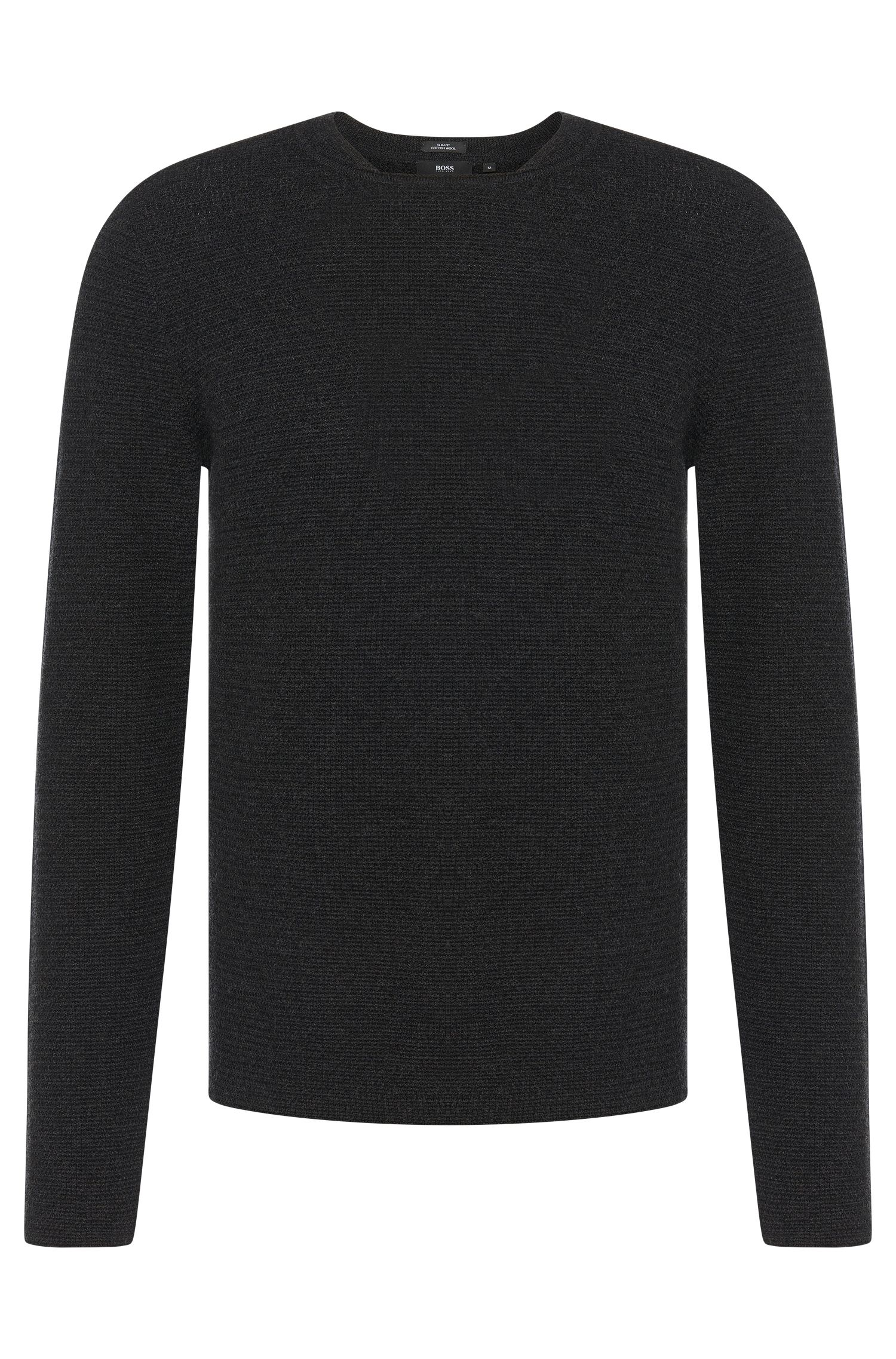 Slim-fit sweater in a new wool and cotton blend: 'Bogardo'