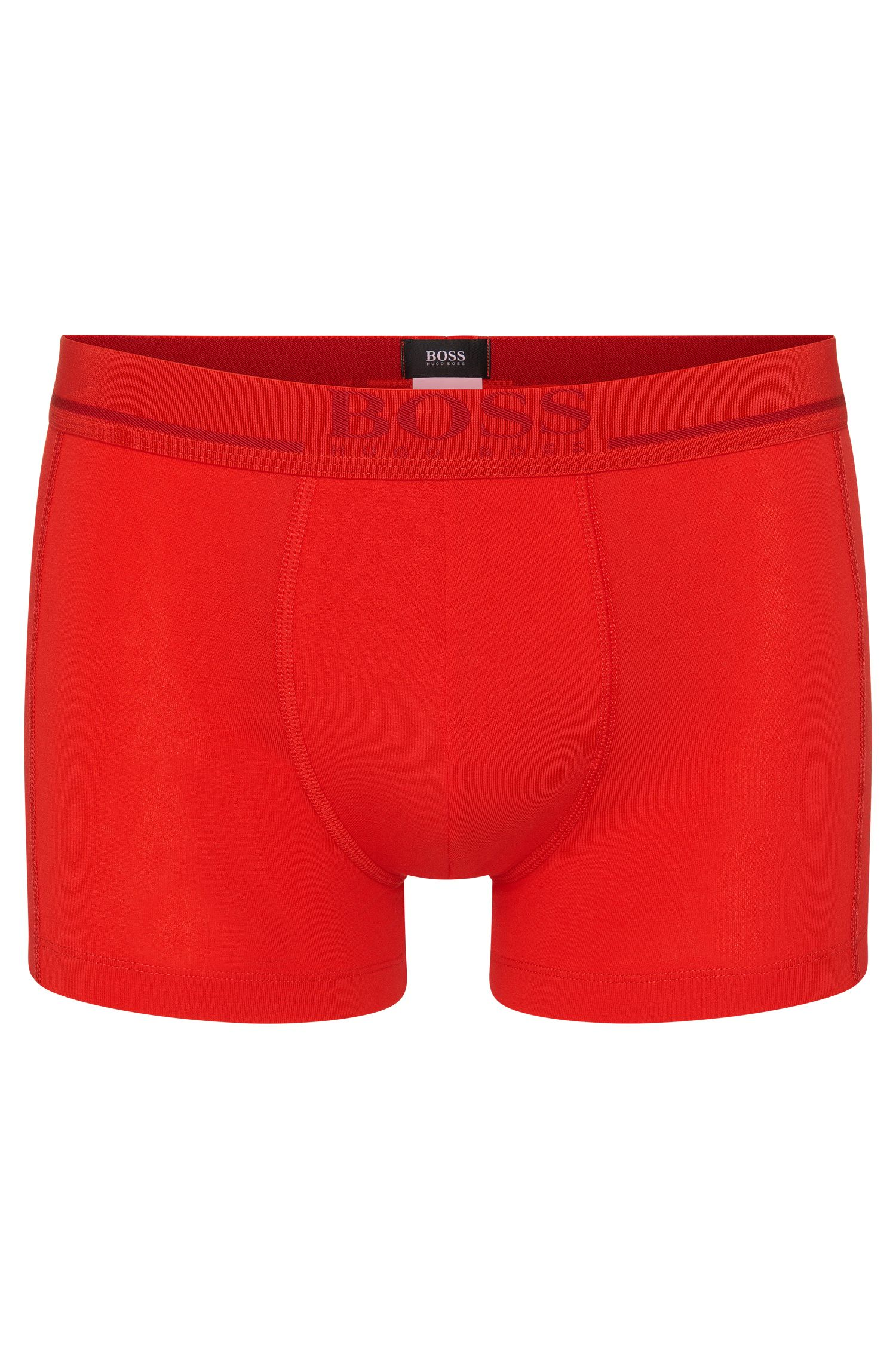 Plain boxer shorts in stretch cotton with an elastic waistband: 'Boxer 24 Logo'