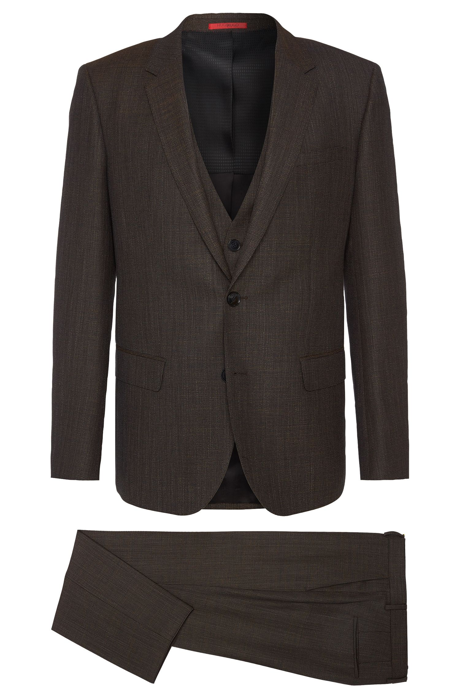 Finely checked slim-fit suit in new wool with waistcoat: 'C-Huge1/C-Genius/C-WE'
