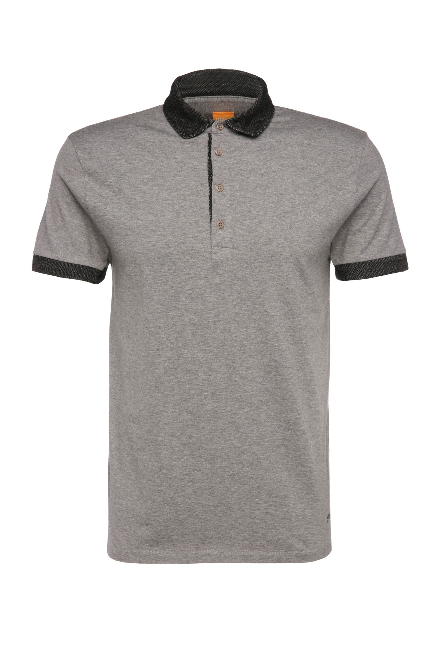 Polo in cotone slim fit con colletto a contrasto: 'Pinto'