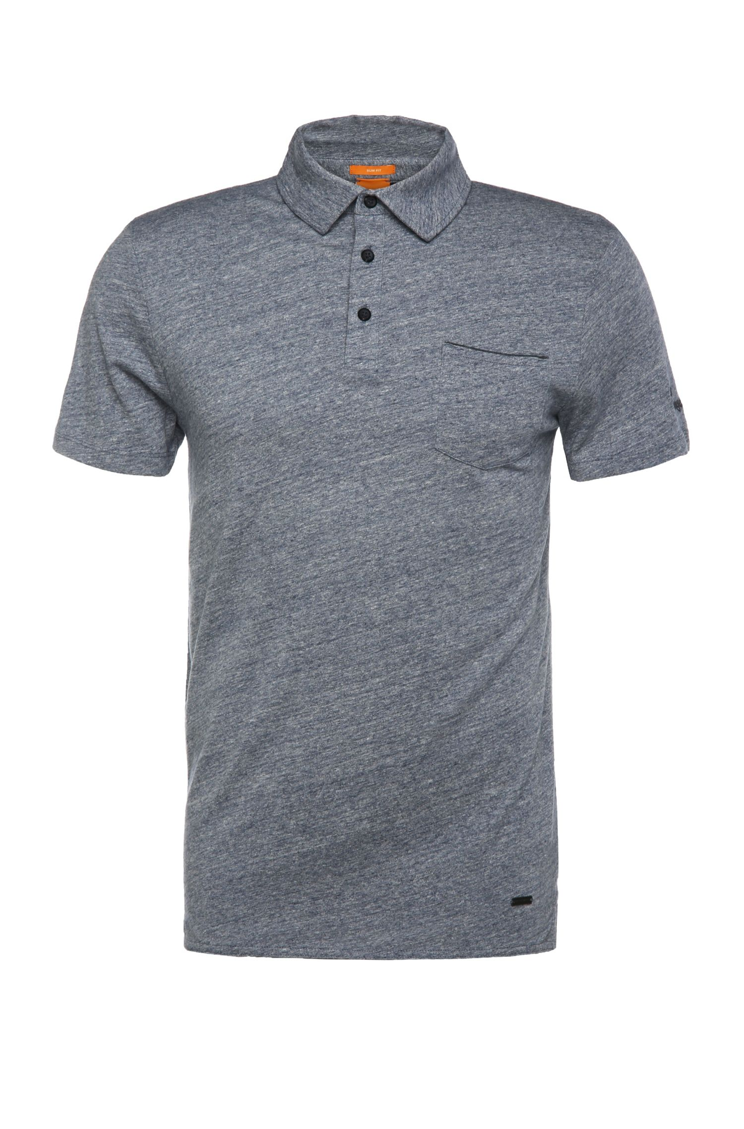 Polo Slim Fit chiné en pur coton : « Phylo »