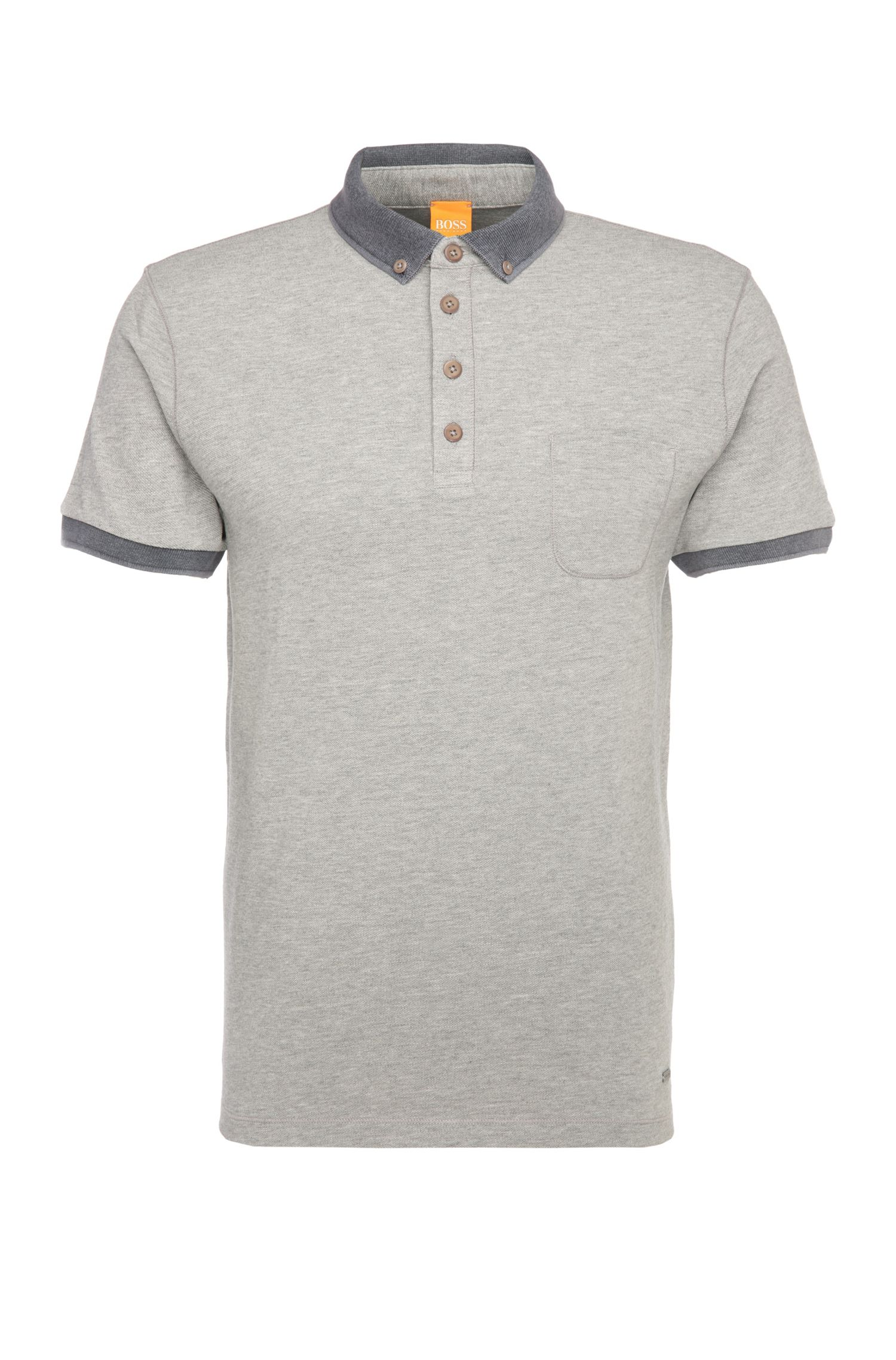 Narrow-cut polo shirt in cotton piqué: 'Prynce'