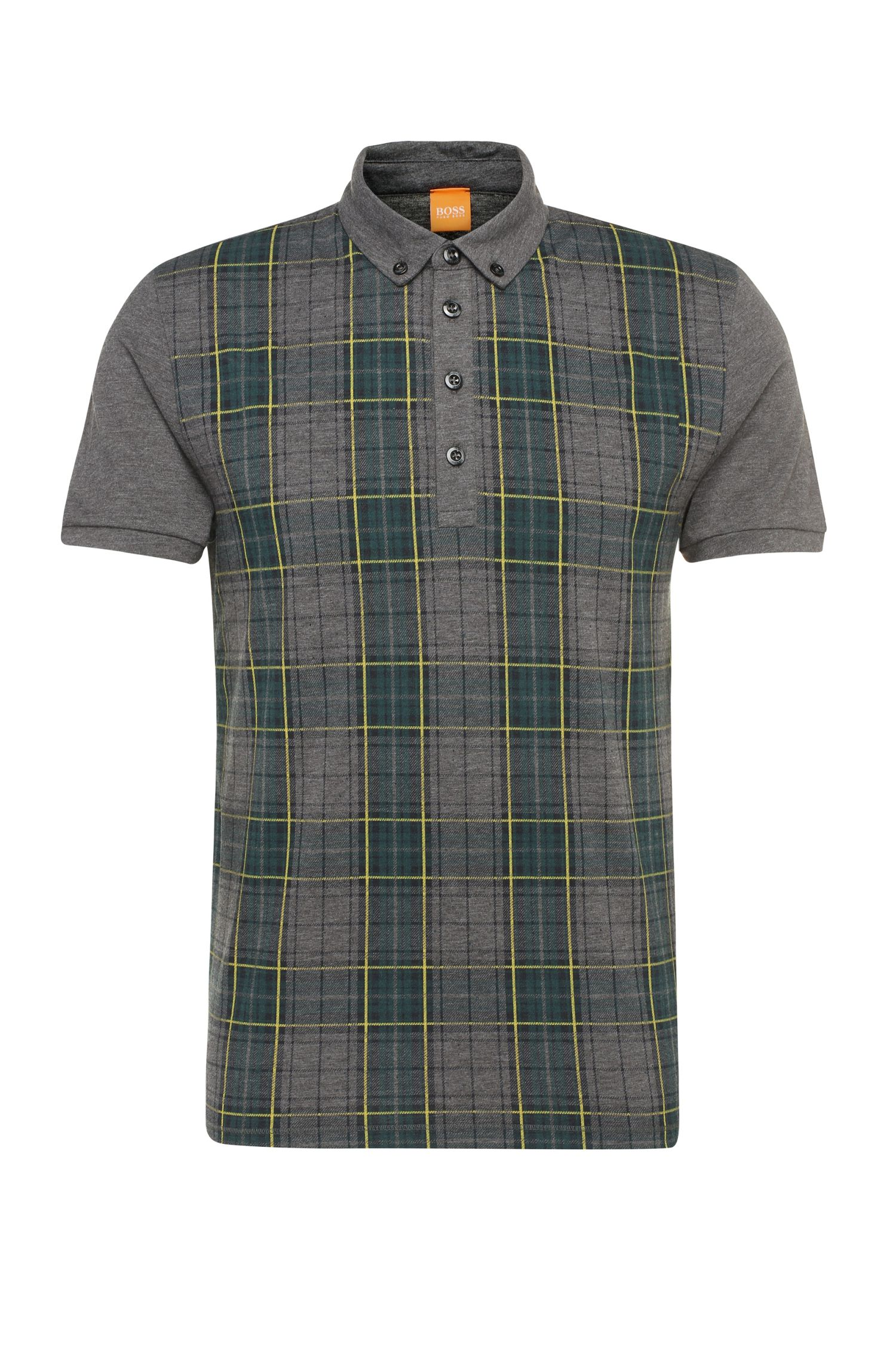 Mottled regular-fit polo shirt in cotton blend with tartan pattern: 'Presly'