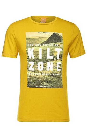 Slim-Fit Jersey-Shirt mit Natur-Motiv: ´Tommi 2`, Gelb