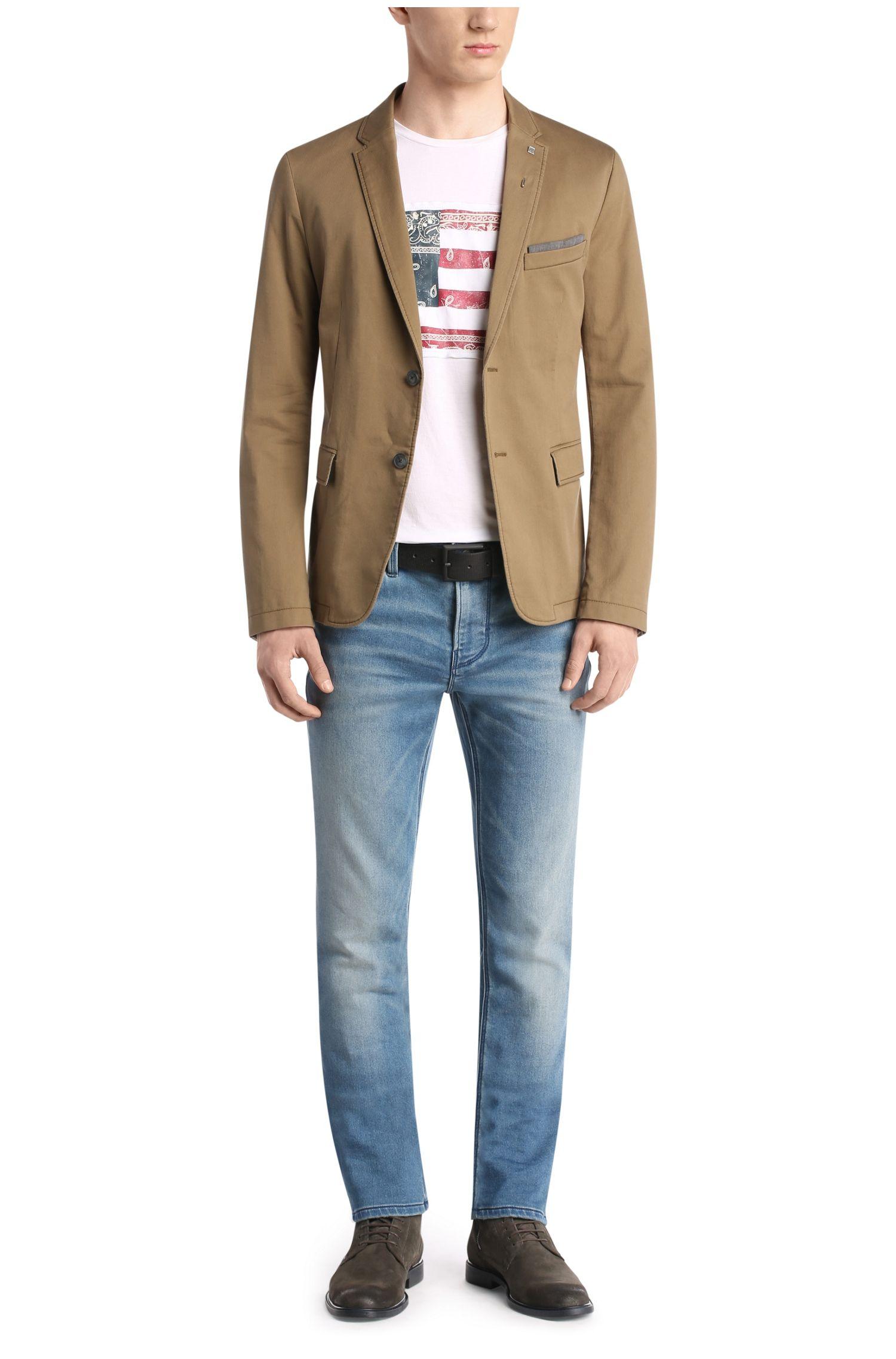 T-shirt Comfort Fit en coton avec empiècement imprimé: «Tayé 2»