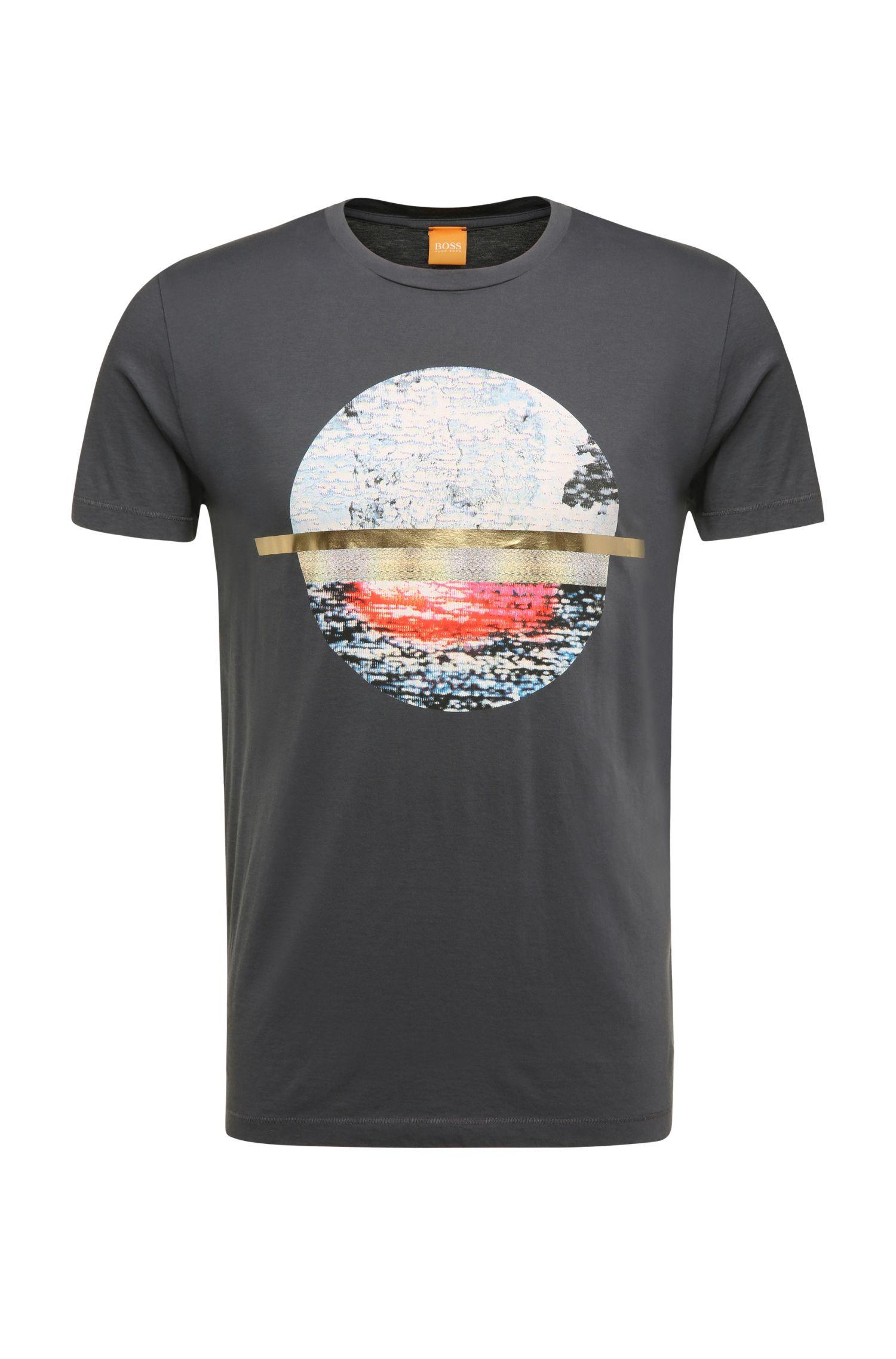 Fashion-fit T-shirt van pimakatoen met print: 'Tayé 3'