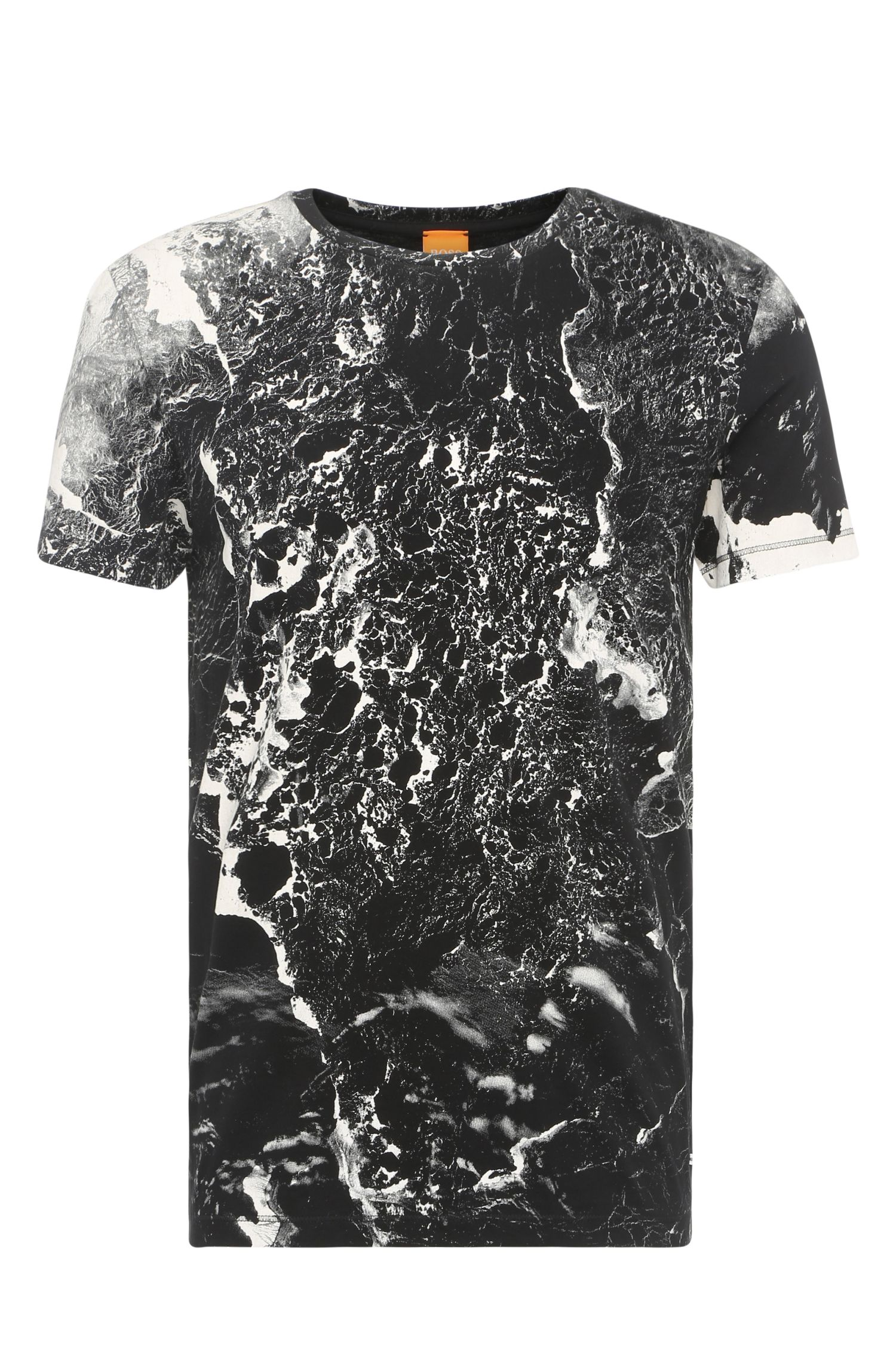Cotton t-shirt with marbled-effect print: 'Tayé 4'