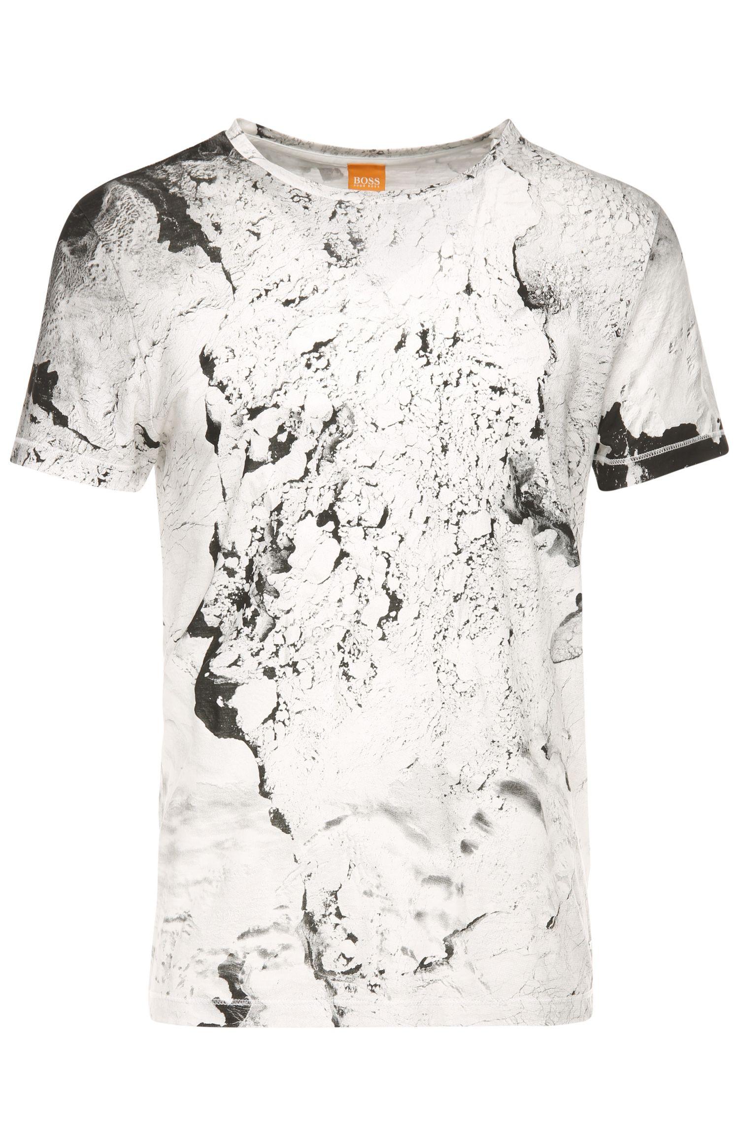 T-shirt van katoen met print in marmerlook: 'Tayé 4'